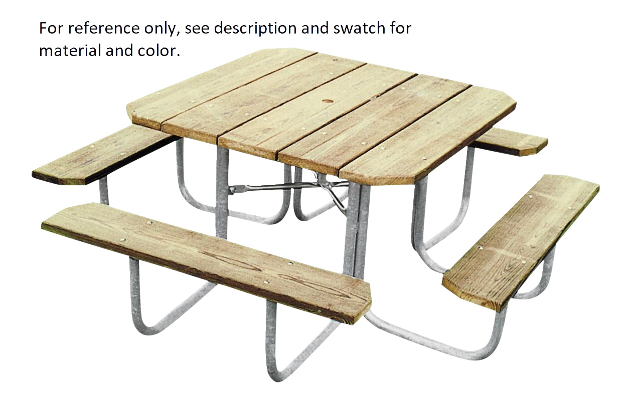 Ultra Play Square Heavy Duty Outdoor Picnic Table, 48 x 48 Inches Top, Cedar Recycled Plastic