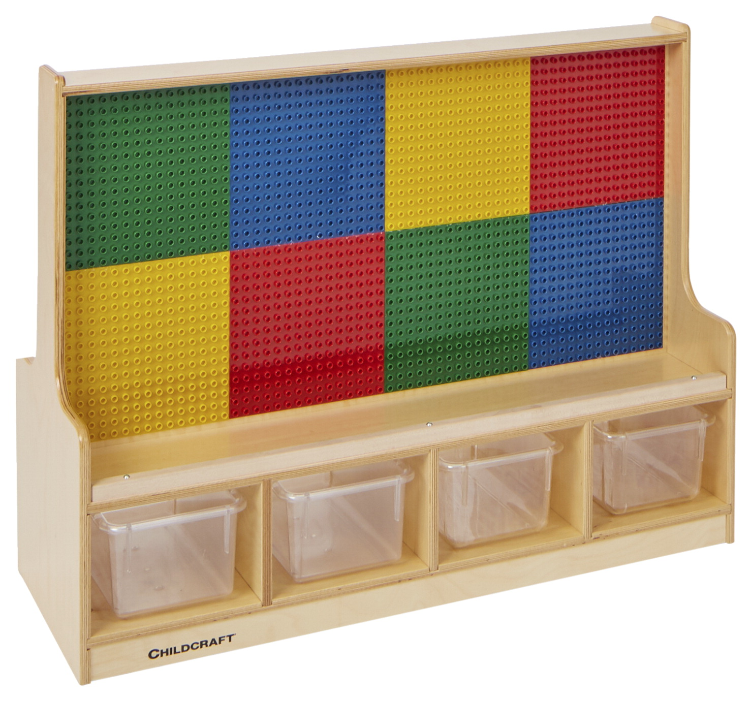 Childcraft Dual-Sided Building Brick Activity Center with Clear Trays, Preschool Grids, 39-1/2 x 14-1/4 x 30 Inches