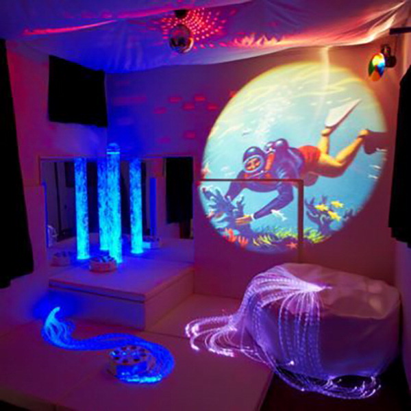 Experia USA Premium Sensory Room with Bubble Tube, Fiber Optic, Projector and More