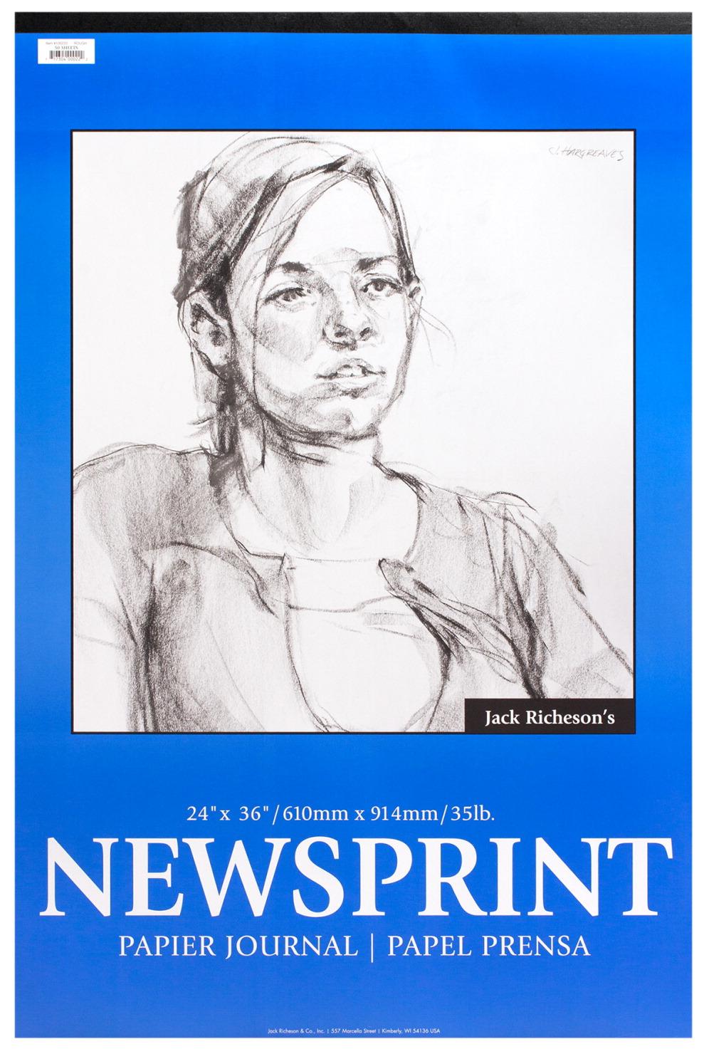 32 lb 50 Sheets Jack Richeson Newsprint Pad 24 x 36 Inches