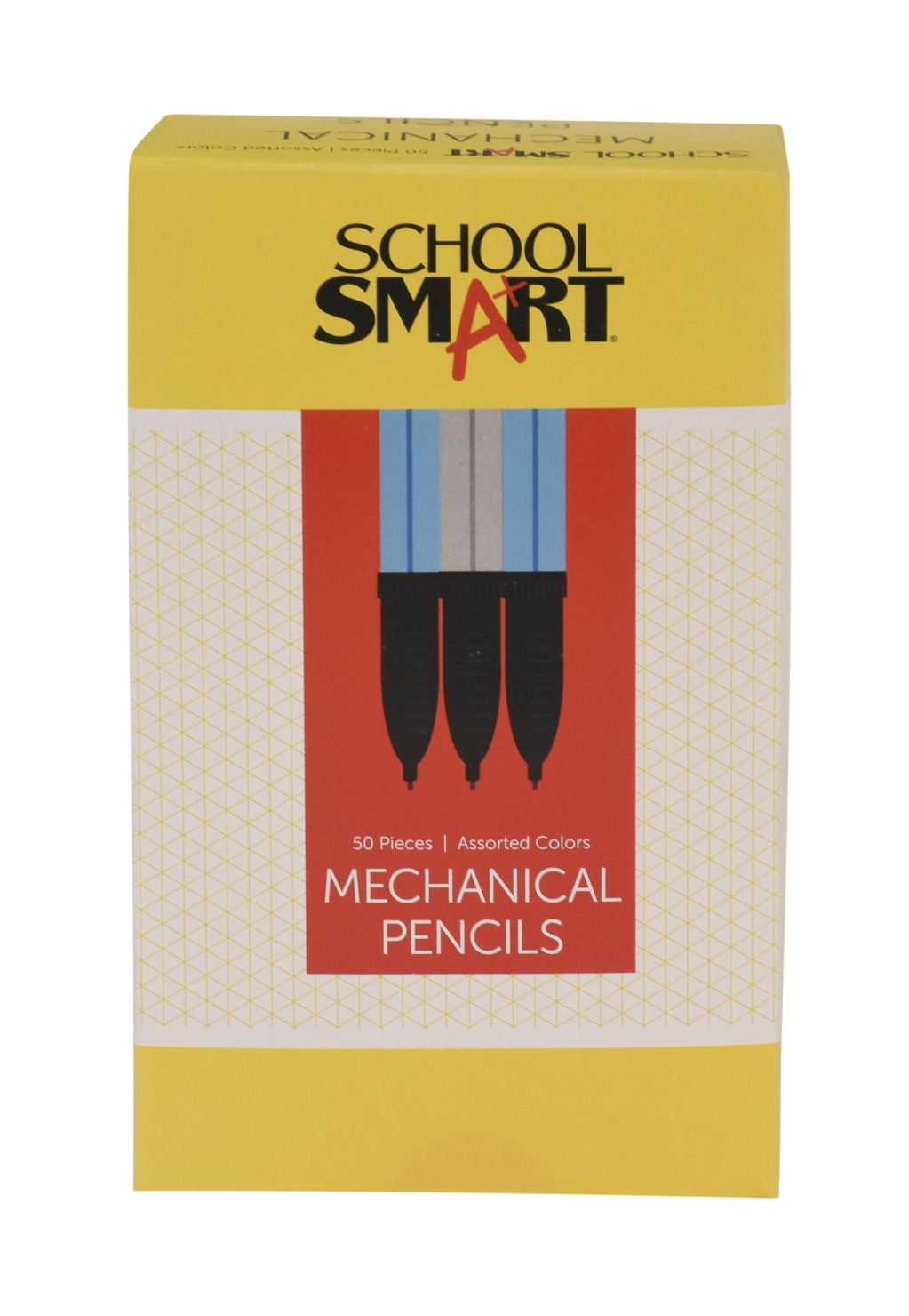 School Smart Splinter-Resistant Mechanical Pencil with Eraser, 0.7 mm Tip, Assorted Colors, Pack of 50