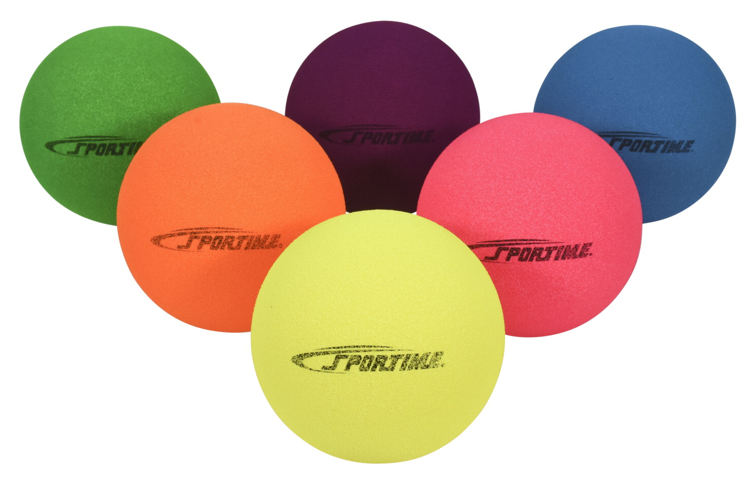 Sportime Fluorescent Foam Balls, Assorted Colors, 7 Inches, Set of 6