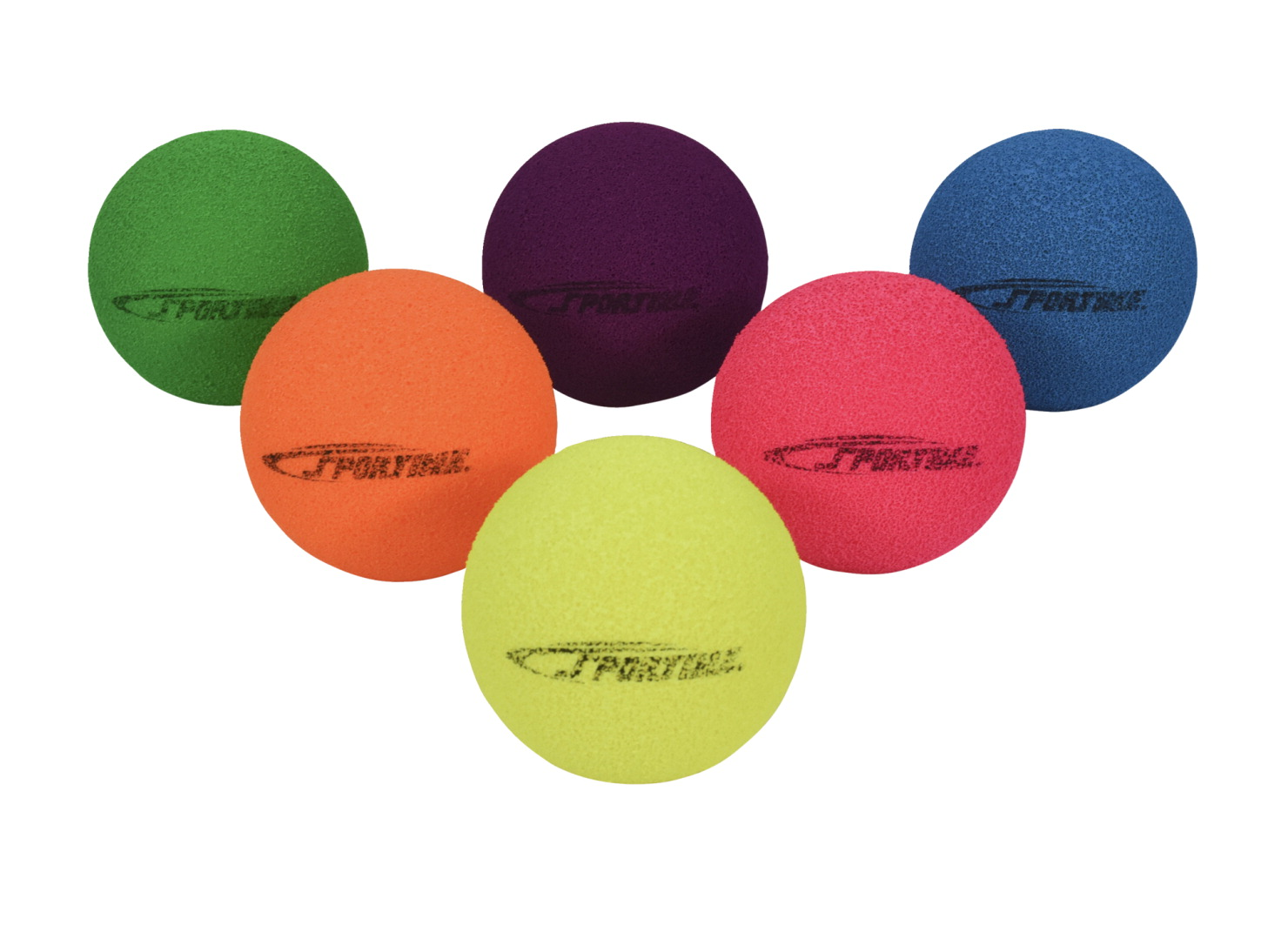 Sportime Fluorescent Foam Balls, Assorted Colors, 3-1/2 Inches, Set of 6