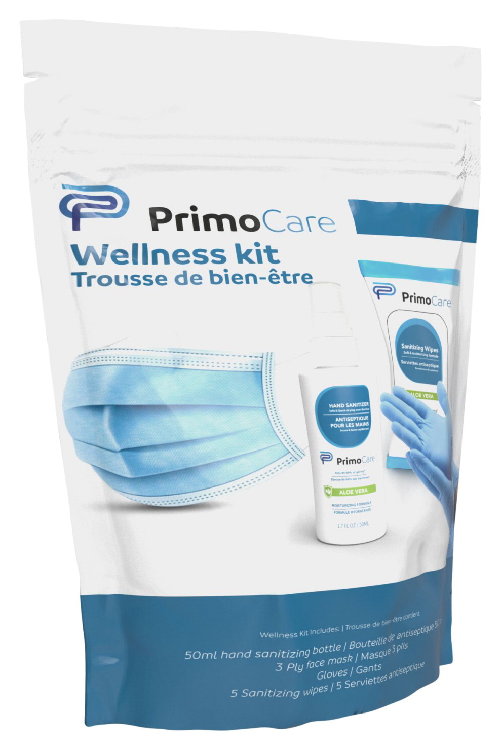Primo Wellness Kit, Mask, Sanitizer, Wipes, Each