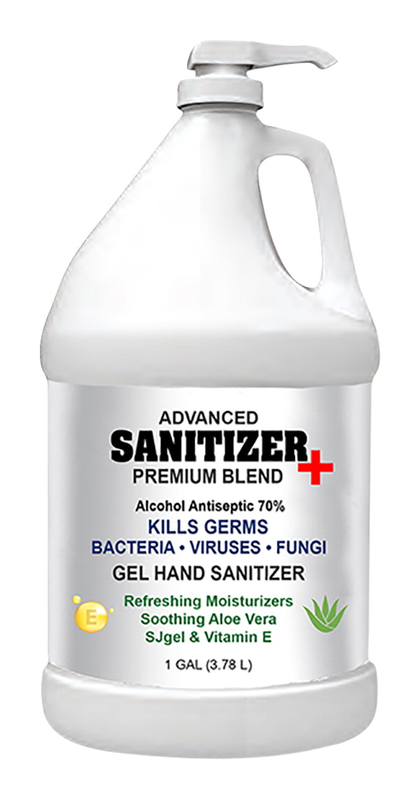 Sanitizer Plus Hand Sanitizer Gel, with pump, 1 Gallon, 70% alcohol, Case of 4
