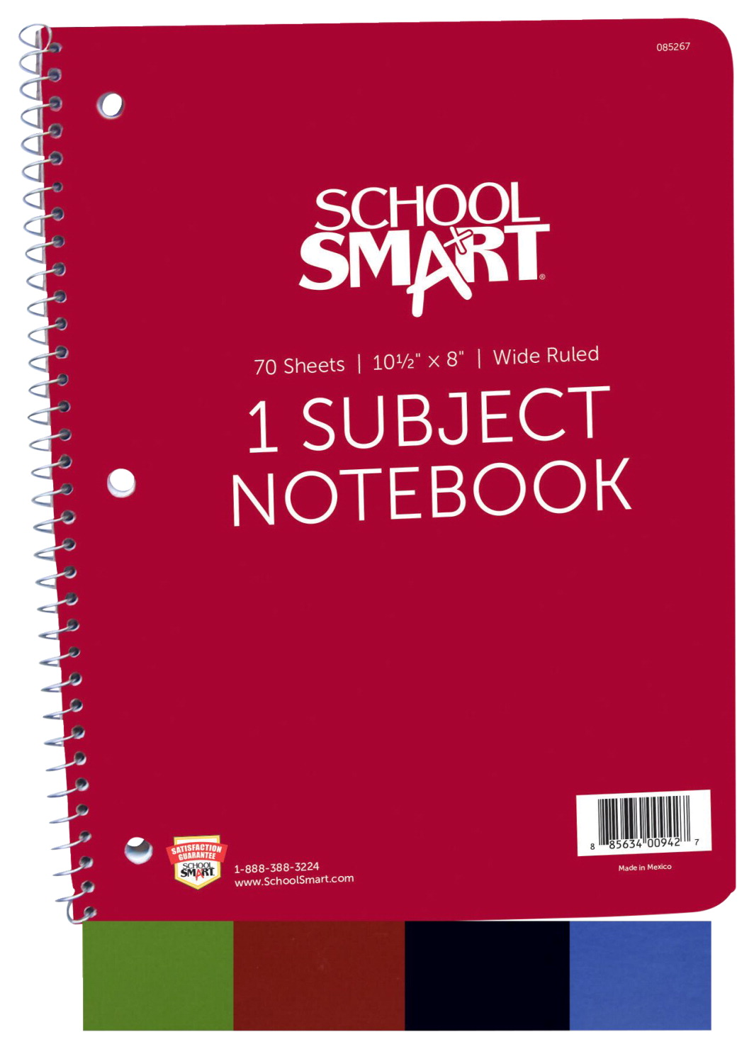 School Smart Spiral Wide Ruled Notebook, 8 x 10-1/2 Inches