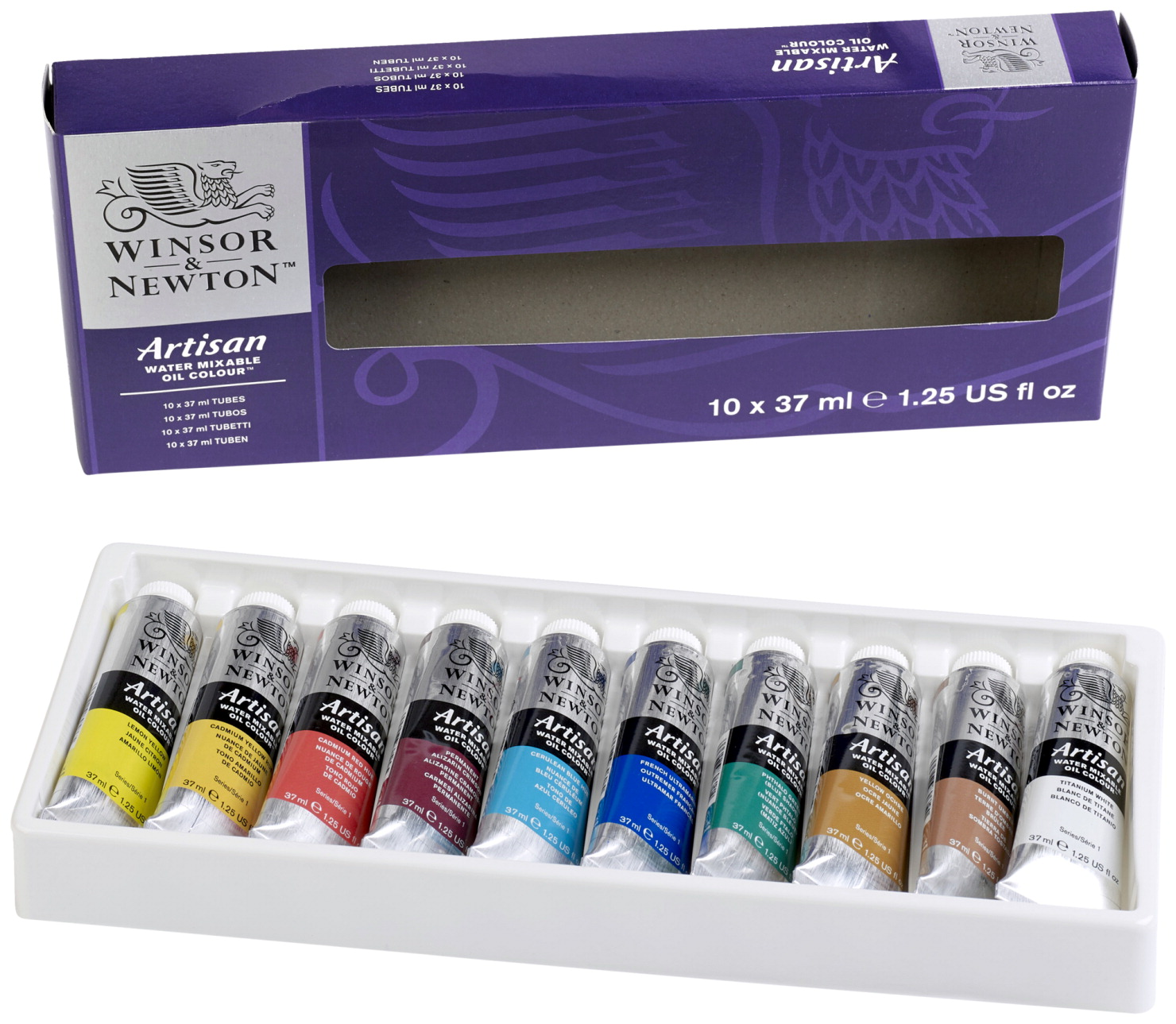 Winsor & Newton Artisan Water-Mixable Oil Color Set, Assorted Colors, Set of 10