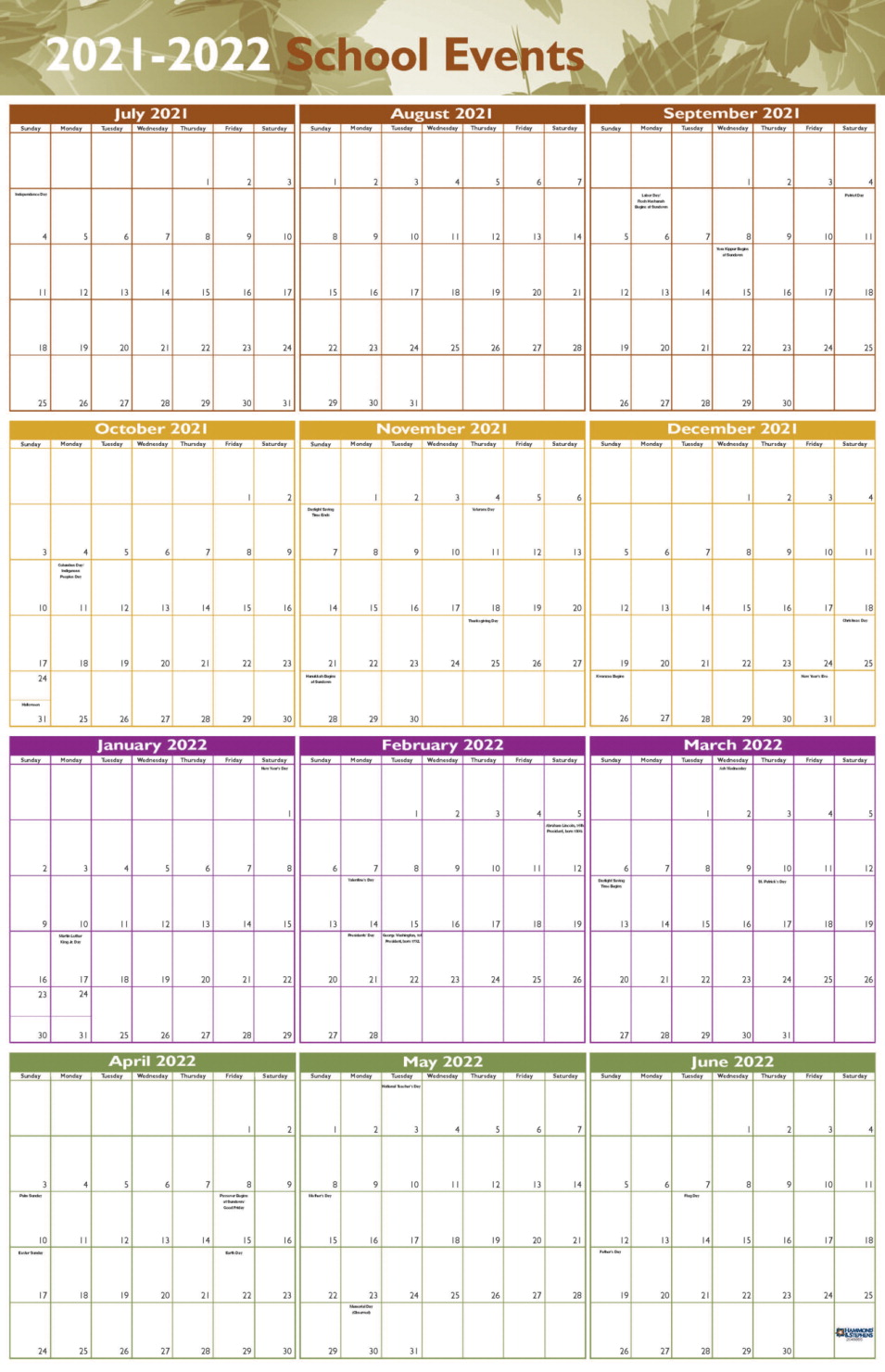 Hammond Stephens Events Wall Calendar July 2021 To June 2022 Set Of 5 School Specialty Canada