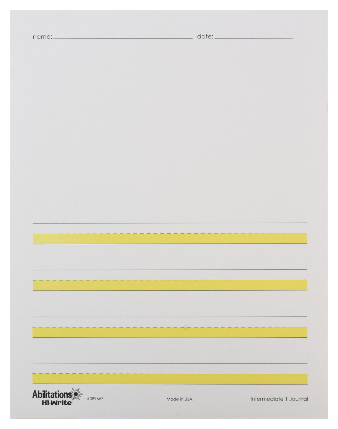 Abilitations Hi-Write Intermediate Journal Paper, Level 1, 8-1/2 x 11 Inches, 100 Sheets