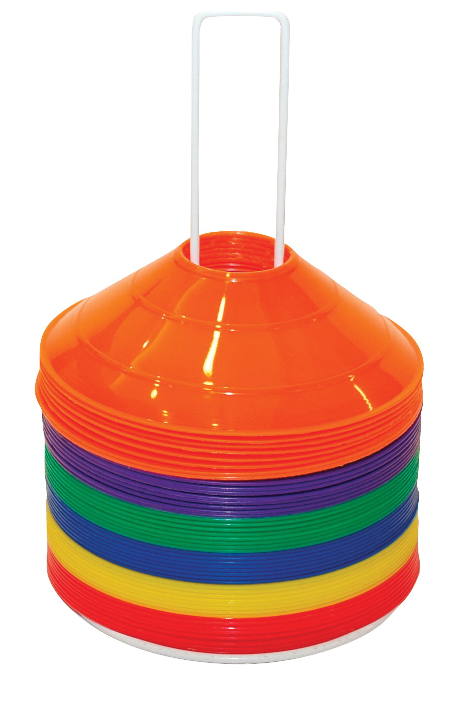 Champion Half Cone Markers with Storage Rack, 9 x 2 Inches, Set of 48