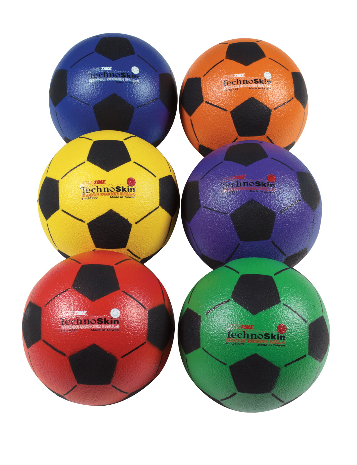 Sportime TechnoSkin Coated Indoor Foam Soccer Balls, Size 3, Set of 6