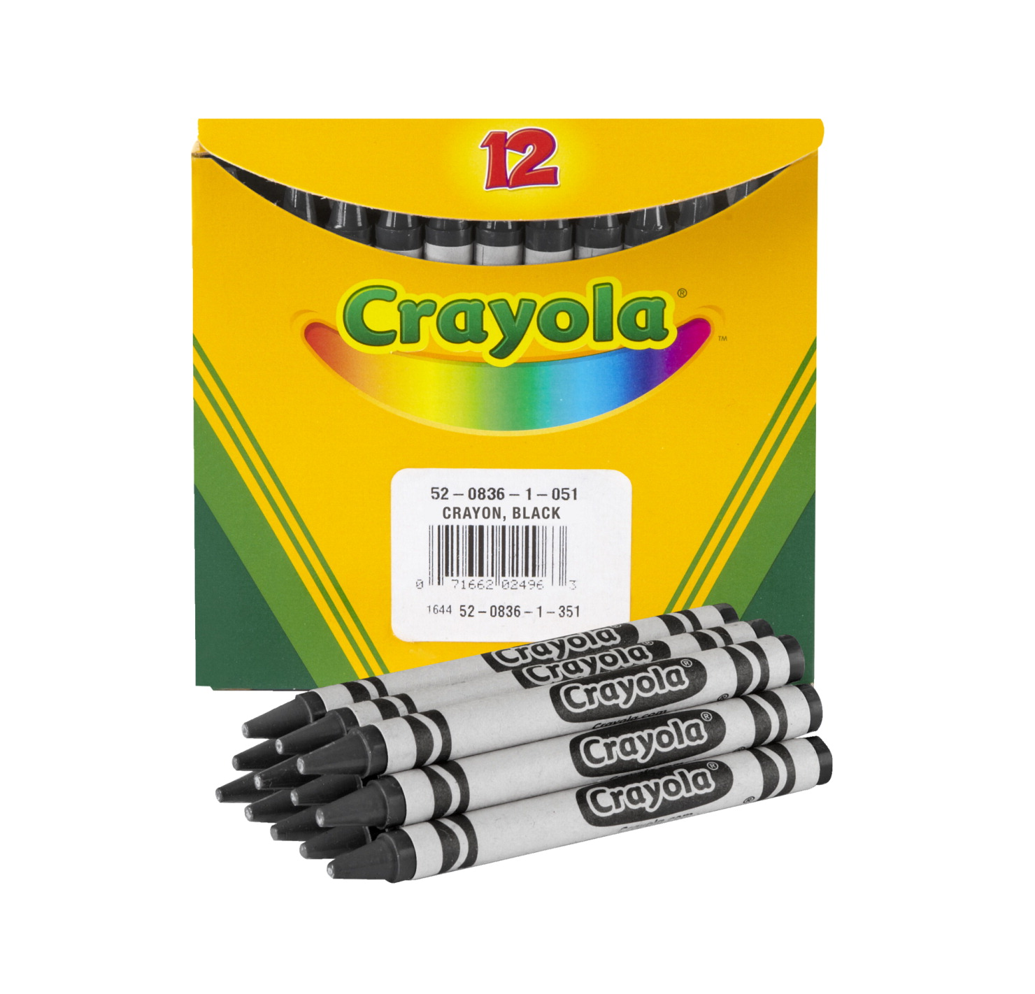 Crayola Non-Toxic Regular Single-Color Crayon Refill, 5/16 X 3-5/8 in, Black, Pack of 12