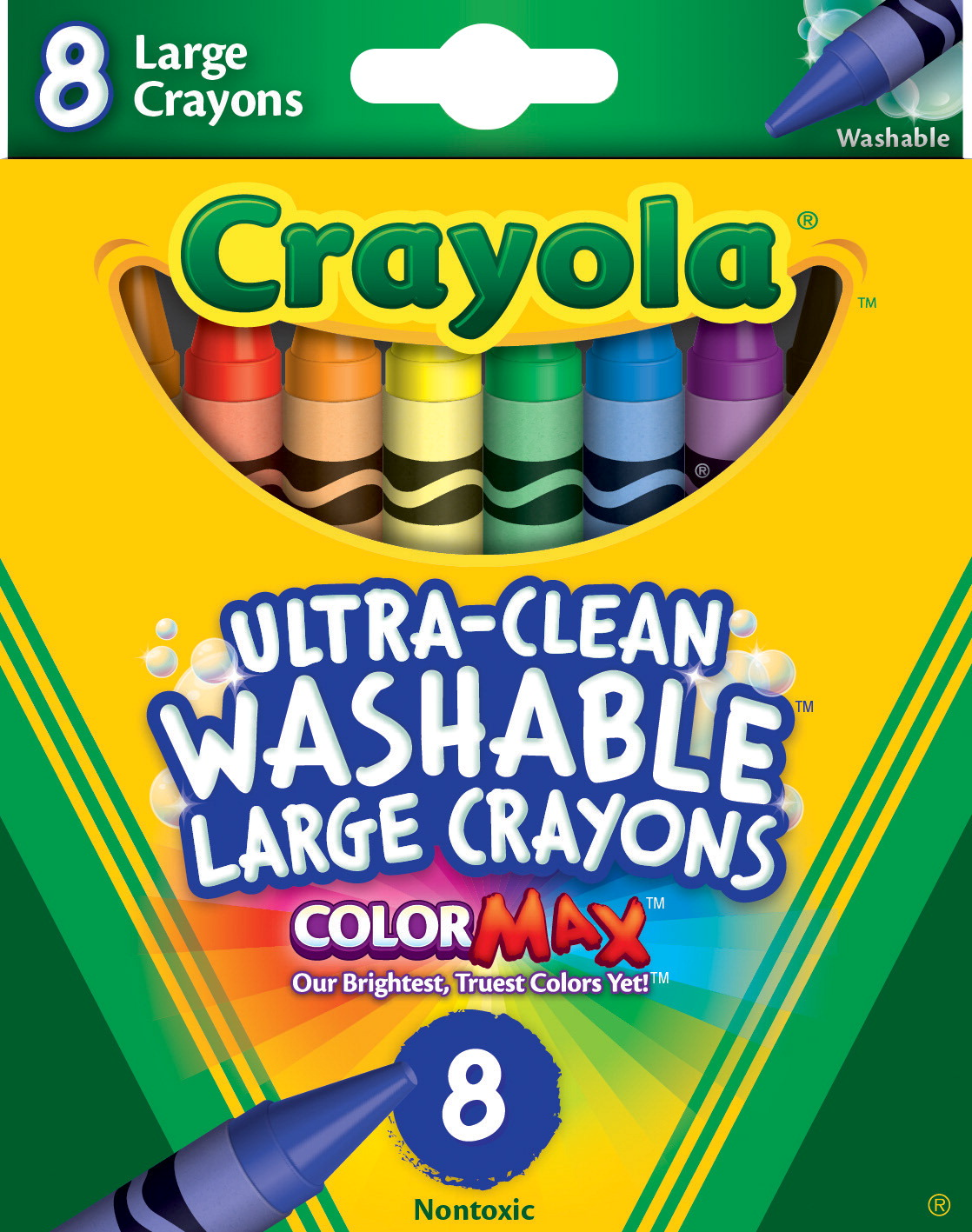 Crayola Large Non-Toxic Washable Crayon Set, 7/16 X 4 in, Assorted Color, Set of 8