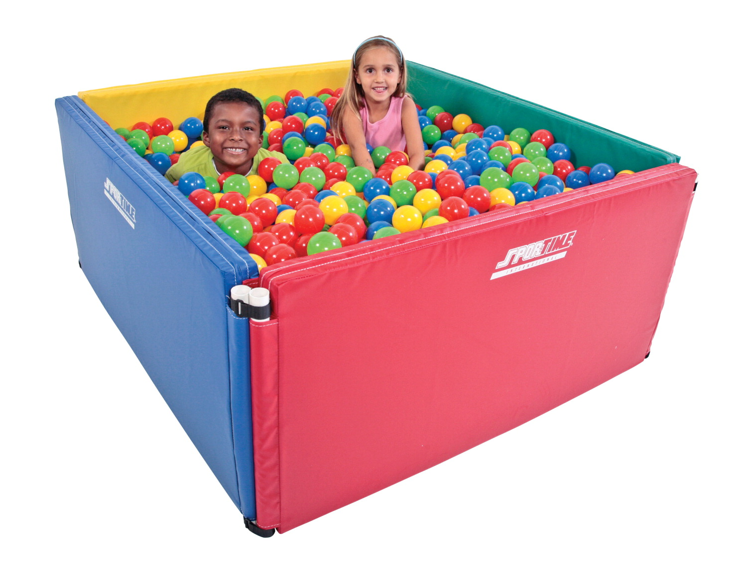 Sportime Expandable Economy Square Ball Pit, Includes 1500 Balls, Multicolors