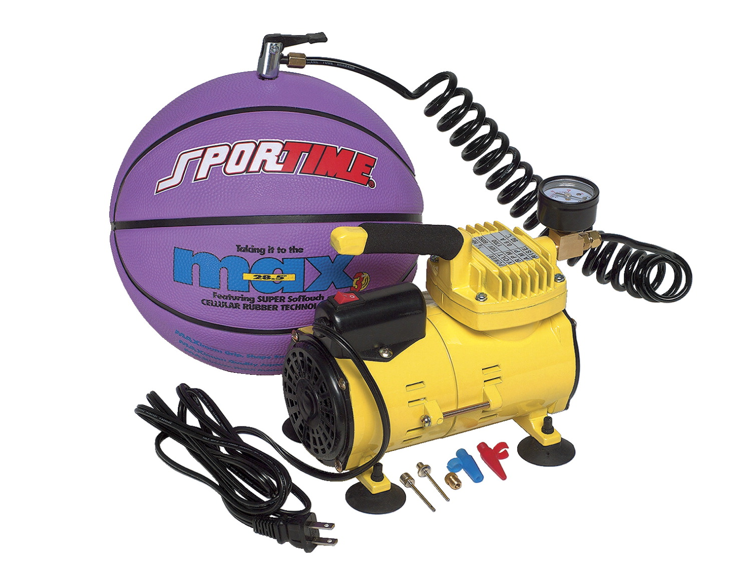 Sportime Heavy-Duty Electric Inflator, Yellow