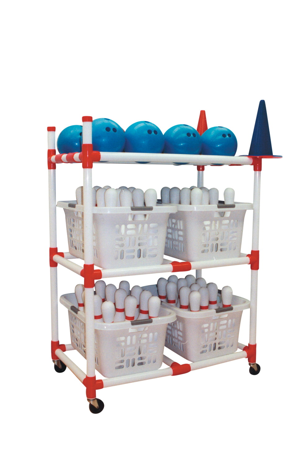 Duracart Bowling Cart with Locking Casters, 41 x 24 x 56 Inches