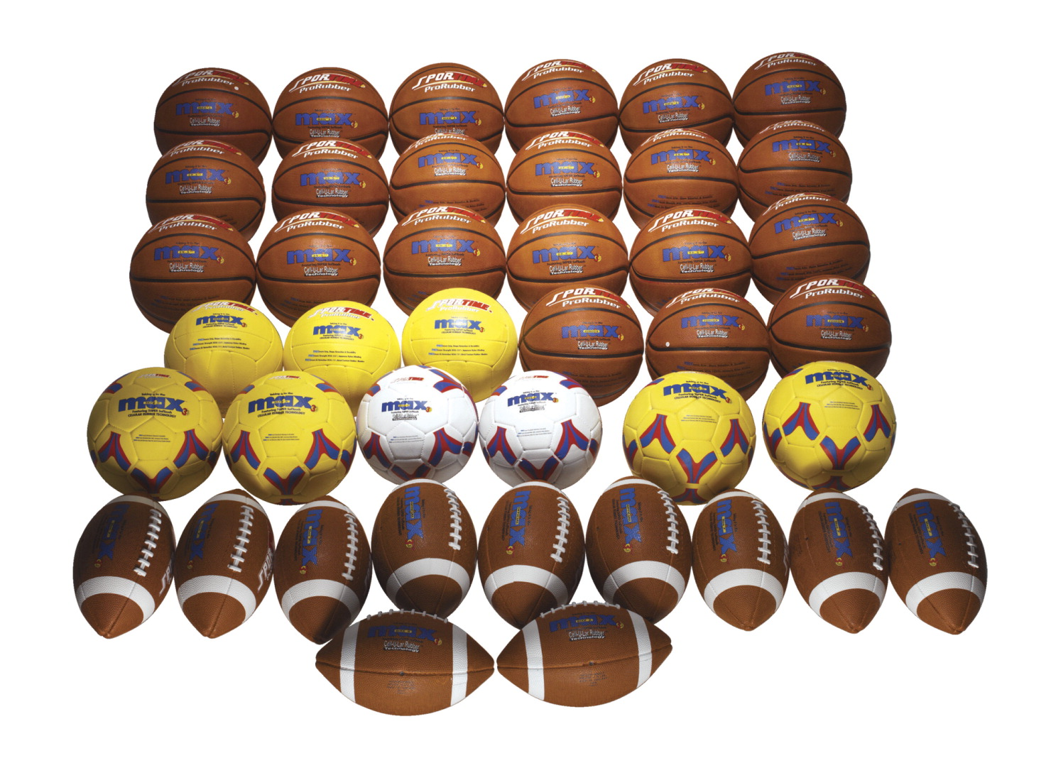 SportimeMax ProRubber Ball Pack, 44 Pieces