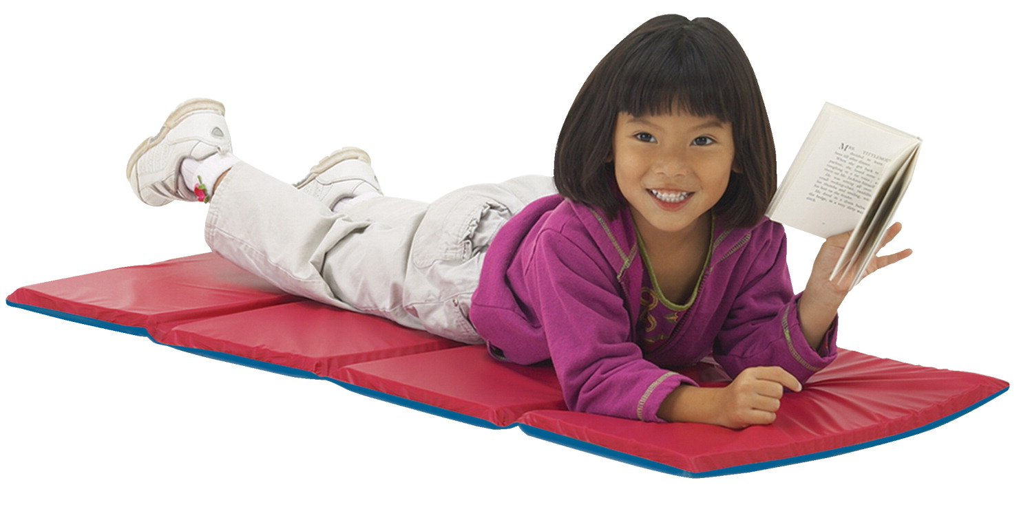Peerless Plastics Basic Toddler KinderMat, 19 x 45 x 5/8 Inches, Blue and Red