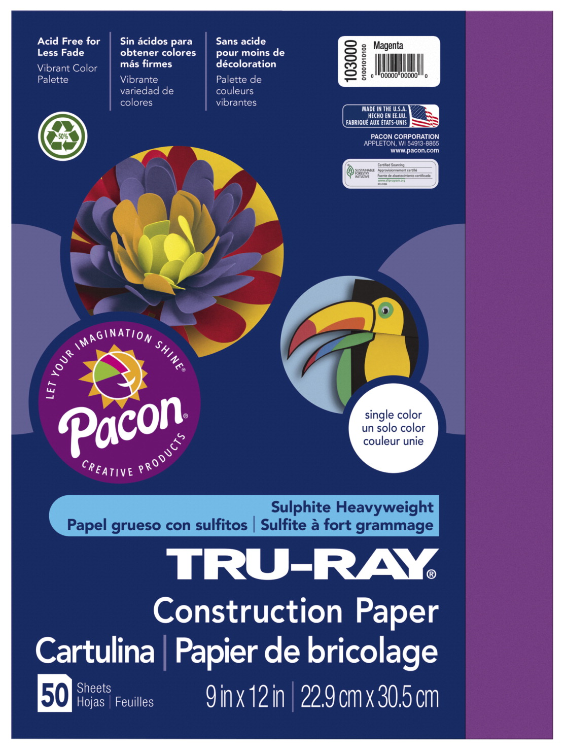 Tru-Ray Sulphite Construction Paper, 12 x 18 Inches, Magenta, 50 Sheets