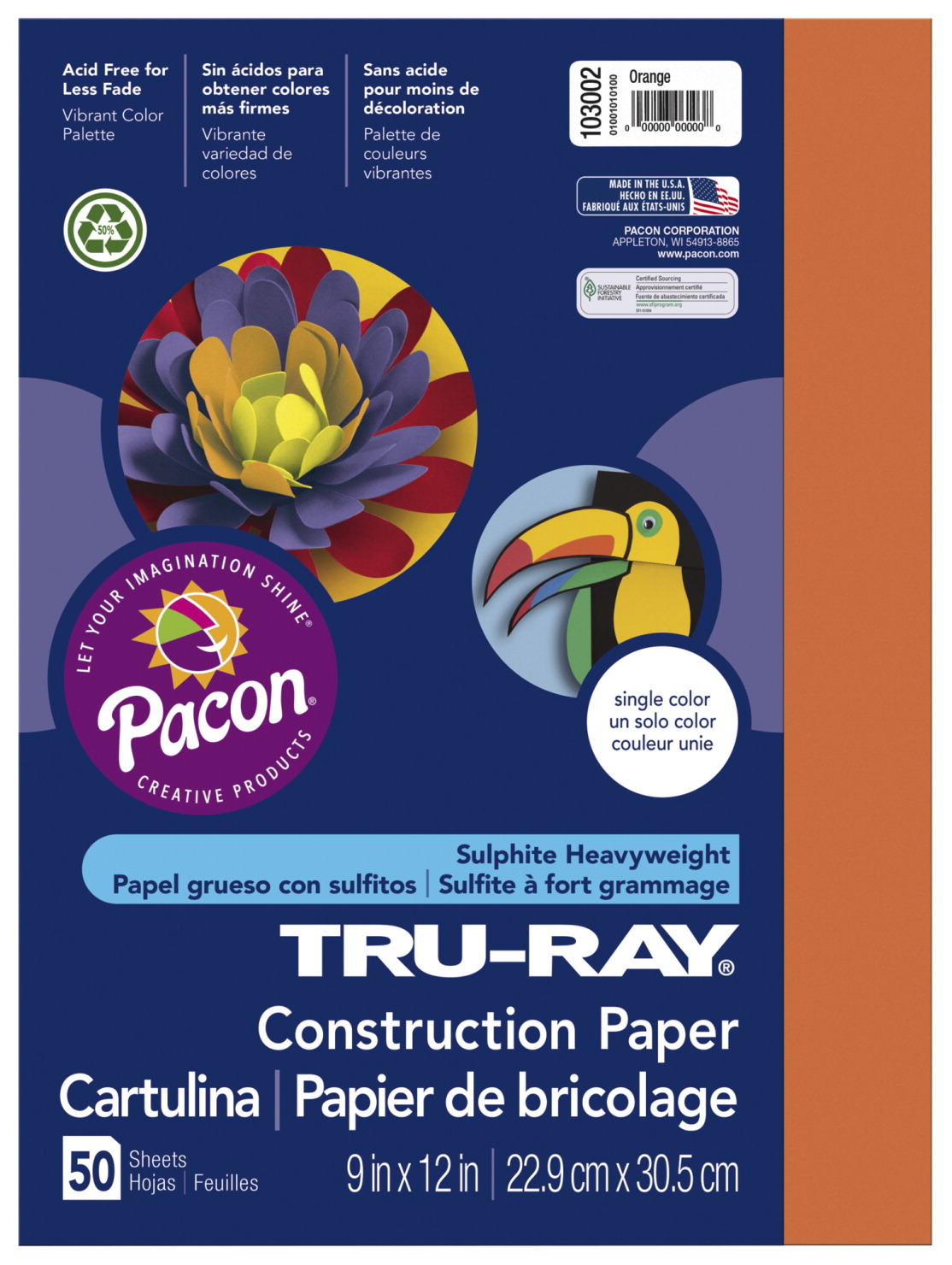 Tru-Ray Sulphite Construction Paper, 12 x 18 Inches, Orange, 50 Sheets