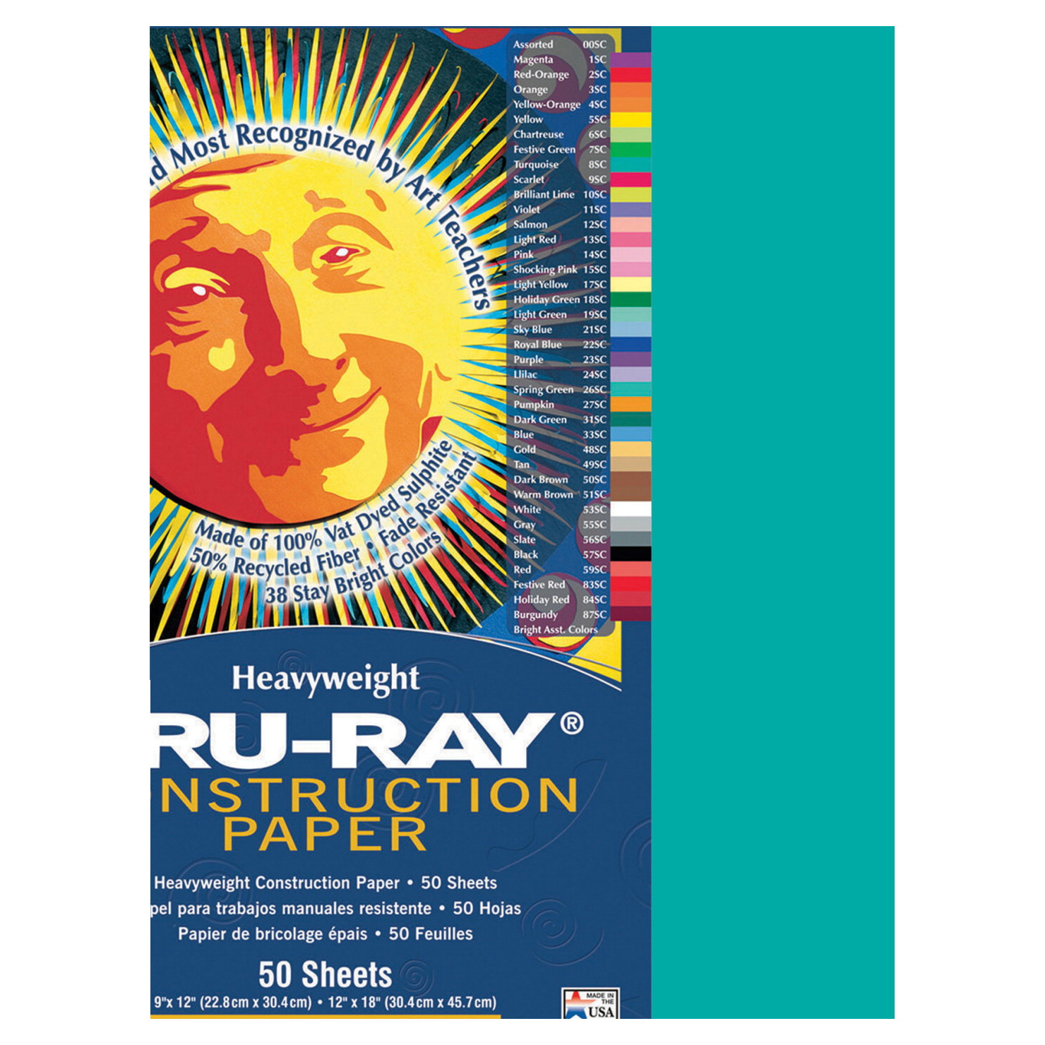 Tru-Ray Sulphite Construction Paper, 9 x 12 Inches, Turquoise, 50 Sheets