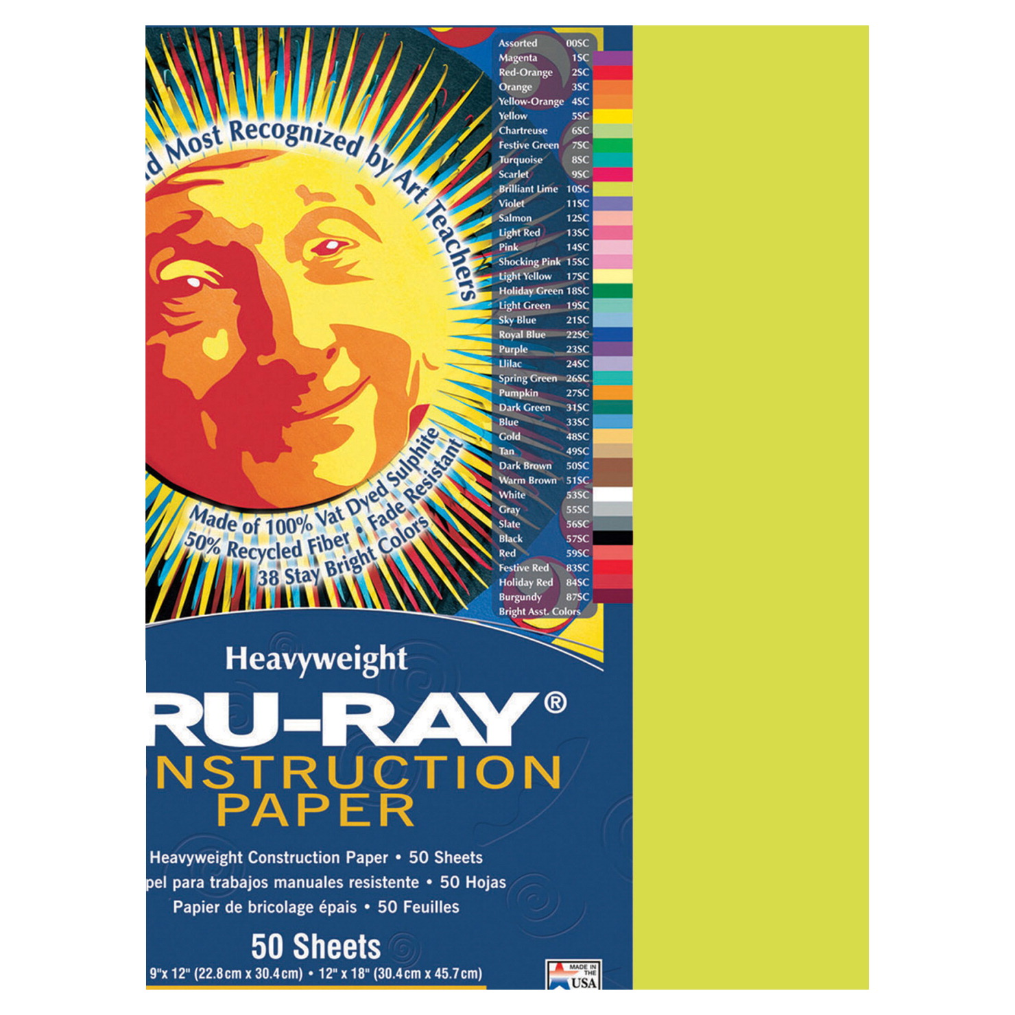 Tru-Ray Sulphite Construction Paper, 9 x 12 Inches, Brilliant Lime, 50 Sheets