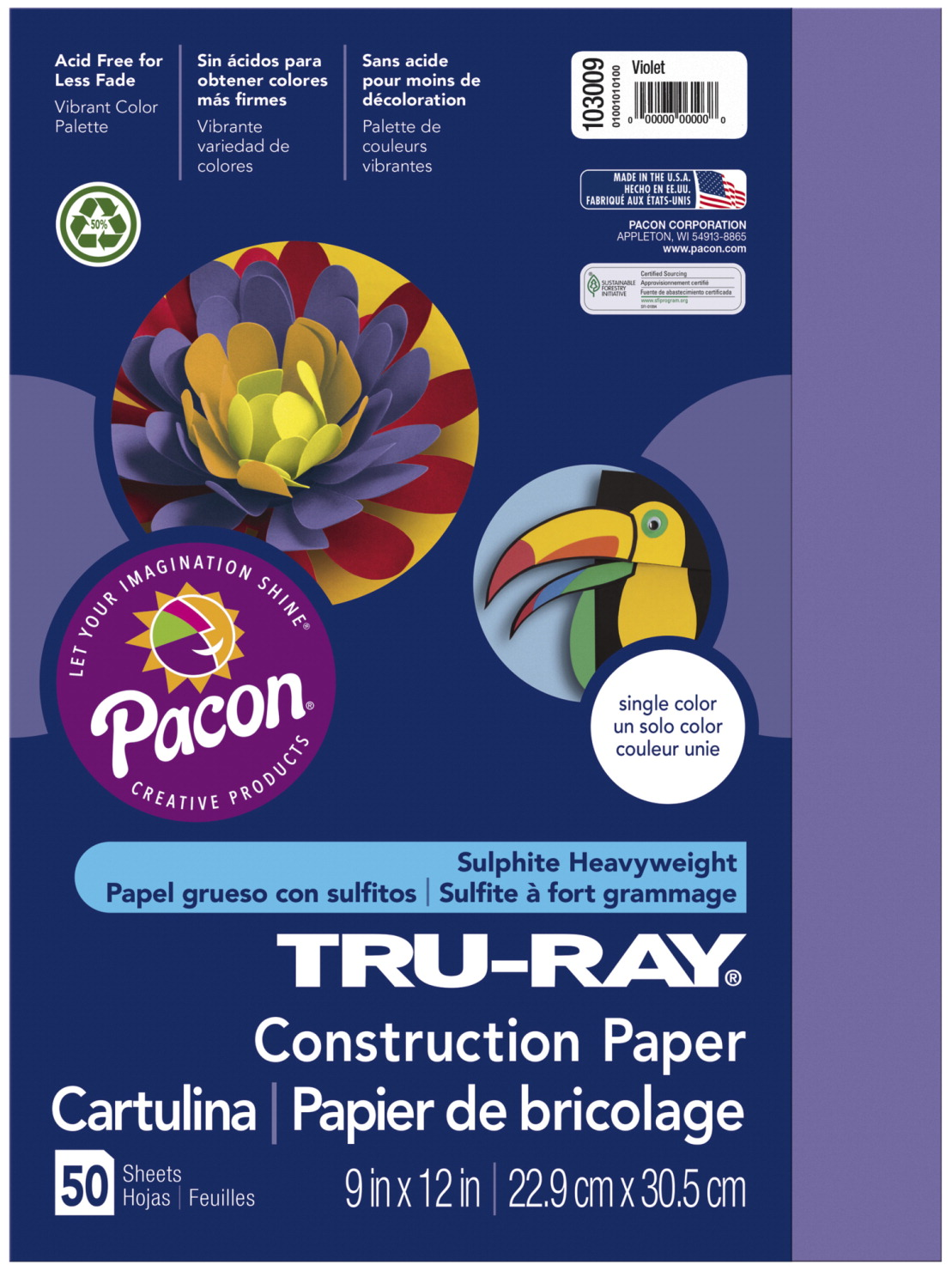 Tru-Ray Sulphite Construction Paper, 12 x 18 Inches, Violet, 50 Sheets