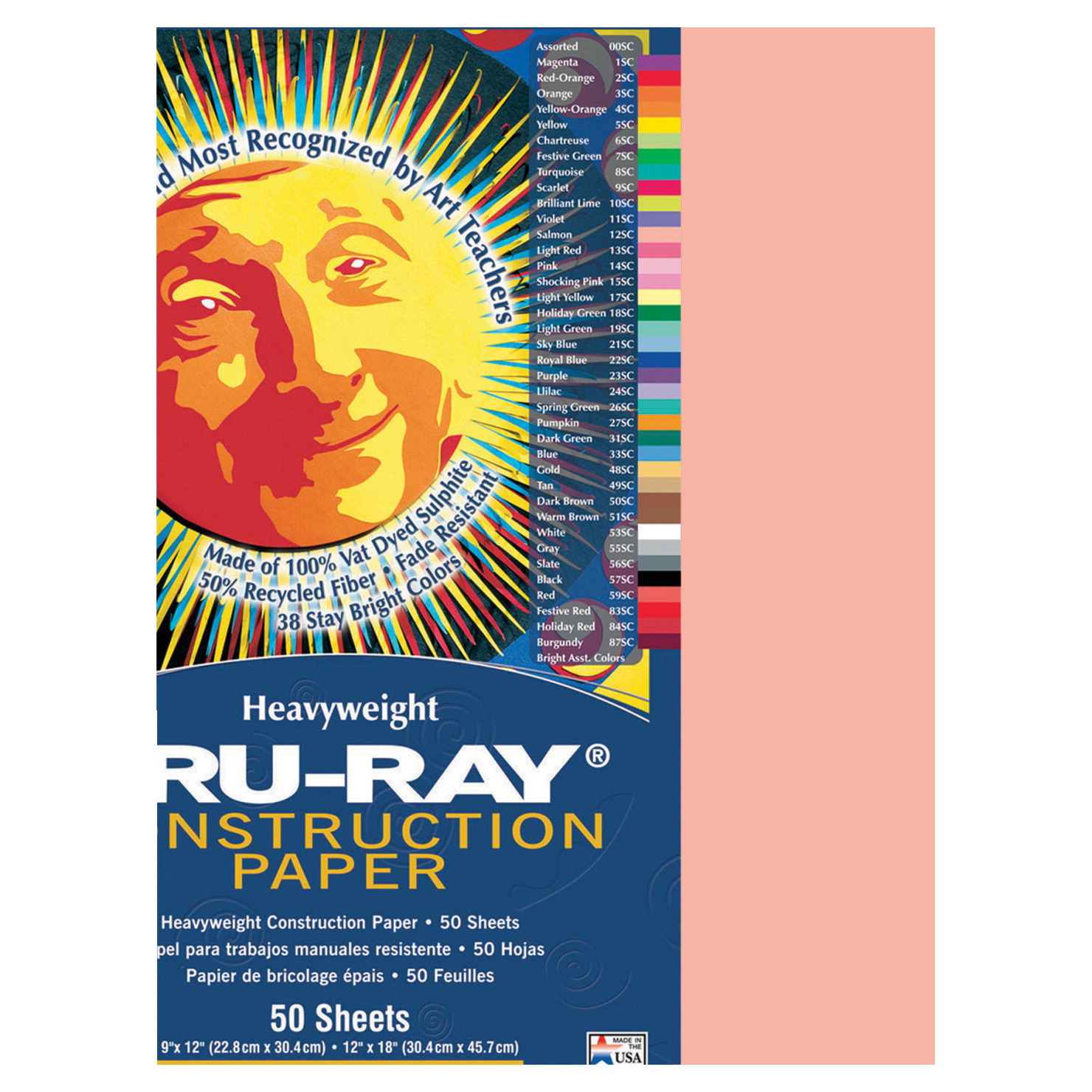 Tru-Ray Sulphite Construction Paper, 12 x 18 Inches, Salmon, 50 Sheets