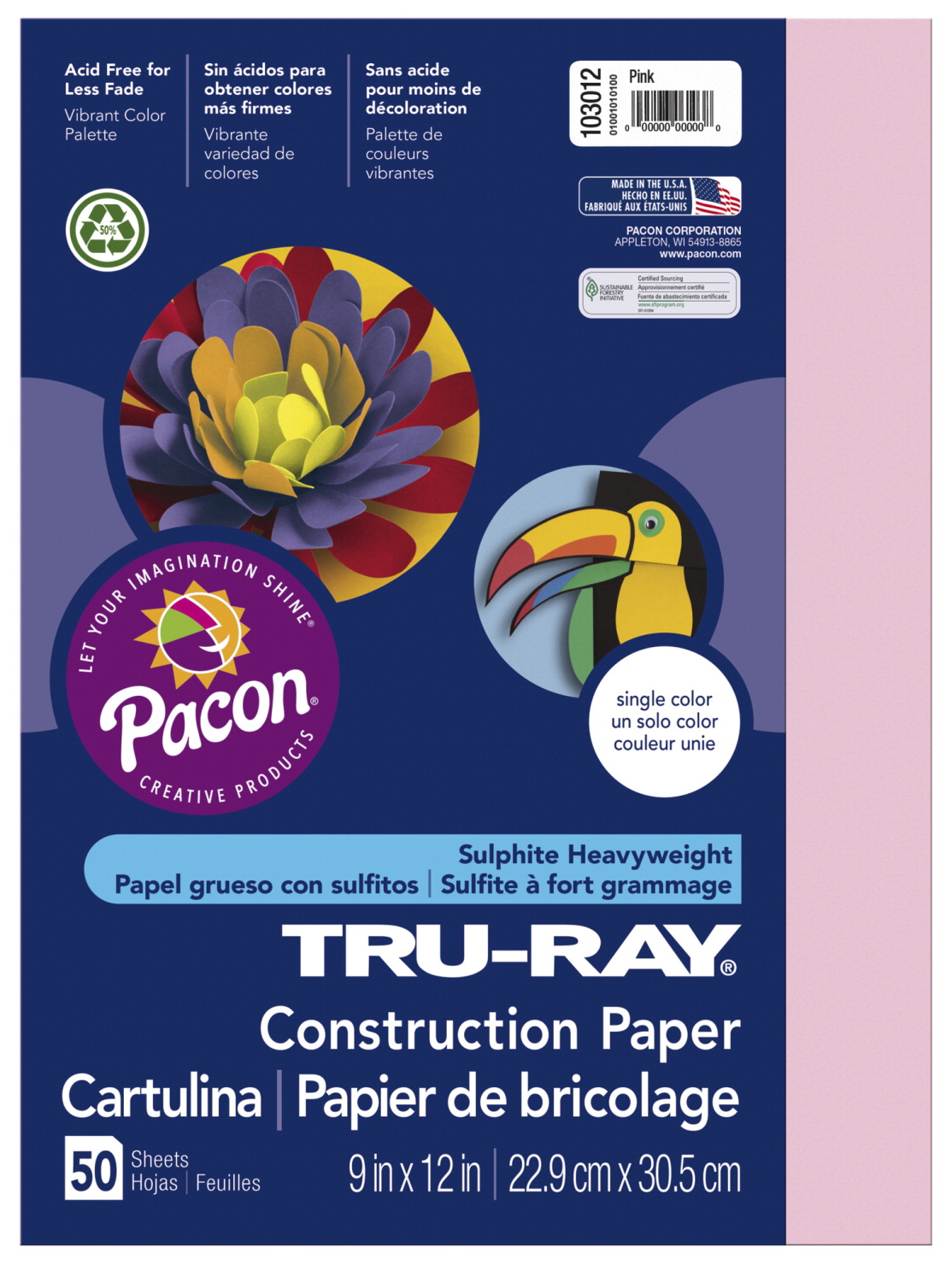 Tru-Ray Sulphite Construction Paper, 12 x 18 Inches, Pink, 50 Sheets