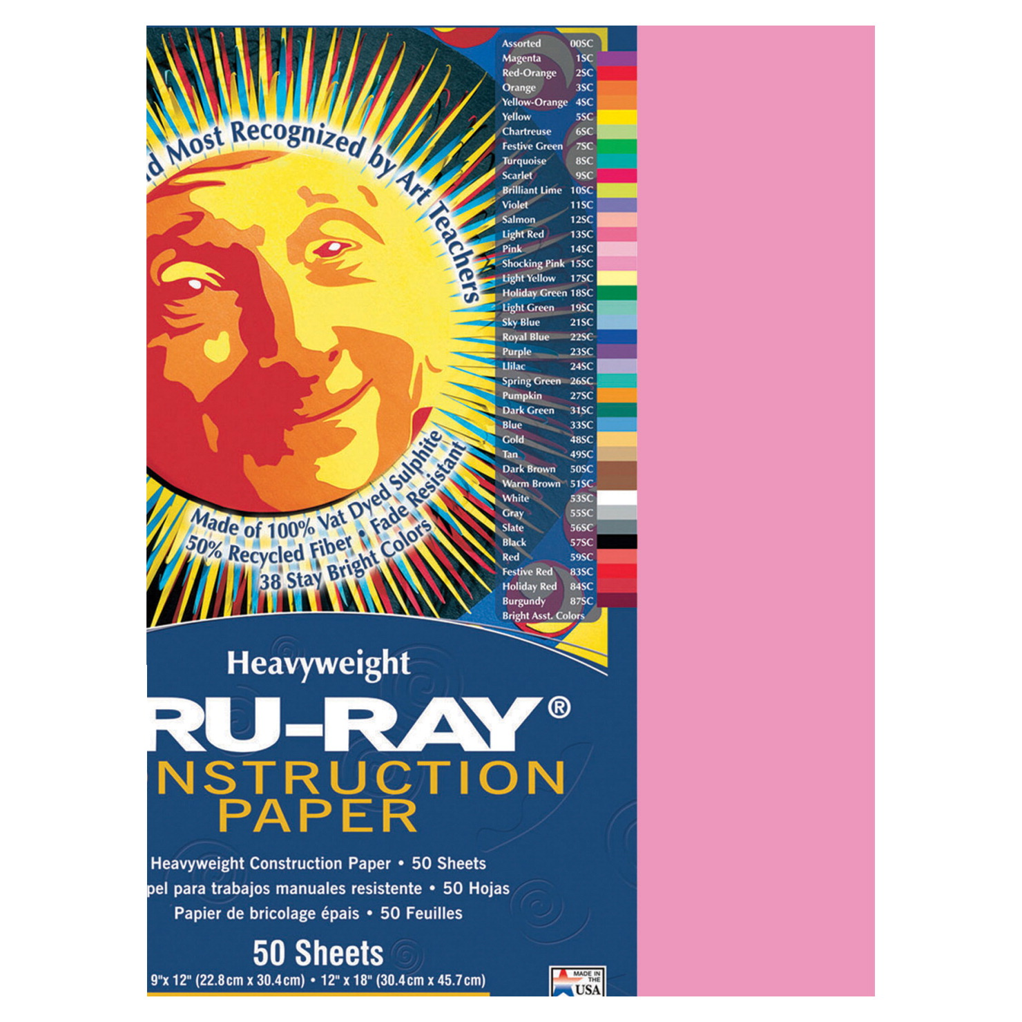Tru-Ray Sulphite Construction Paper, 9 x 12 Inches, Shocking Pink, 50 Sheets