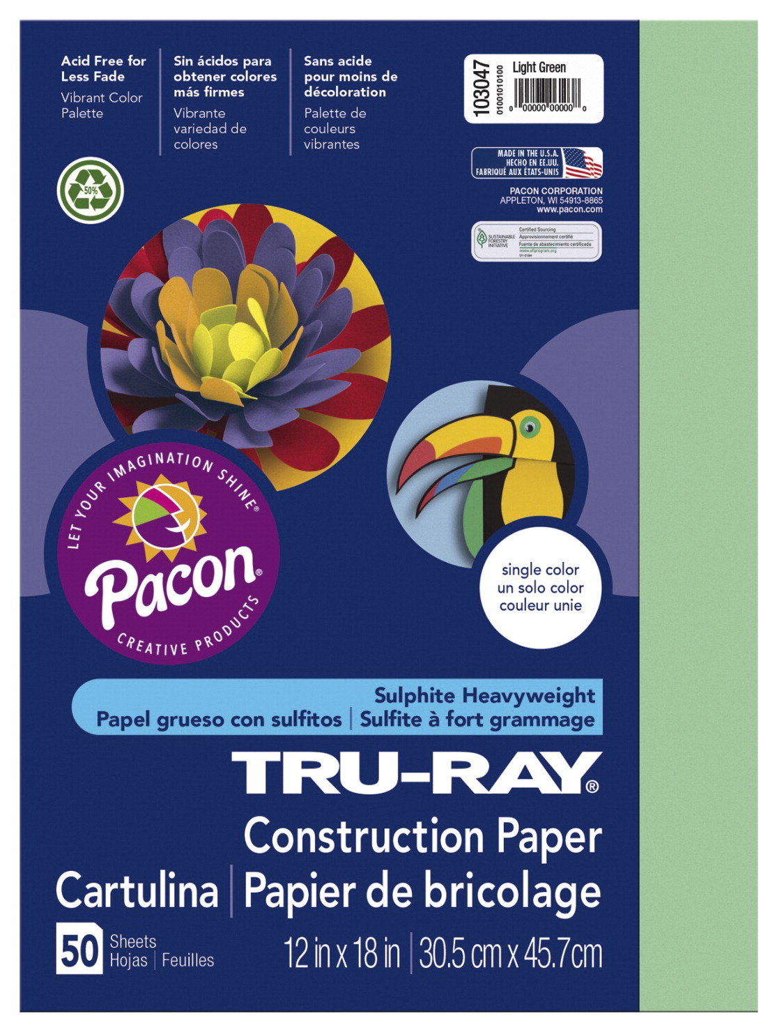 Tru-Ray Sulphite Construction Paper, 12 x 18 Inches, Light Green, 50 Sheets