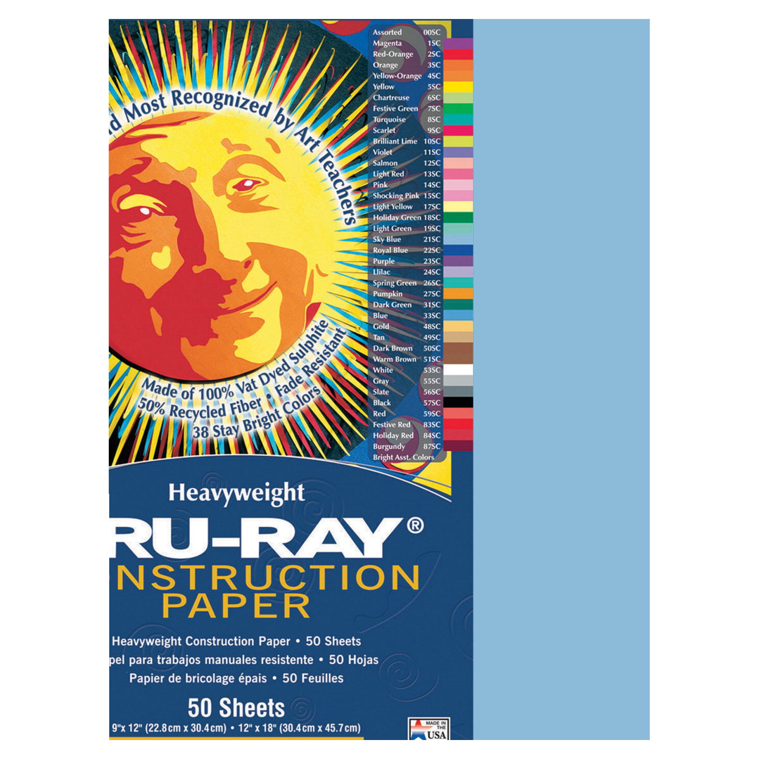 Tru-Ray Sulphite Construction Paper, 9 x 12 Inches, Sky Blue, 50 Sheets