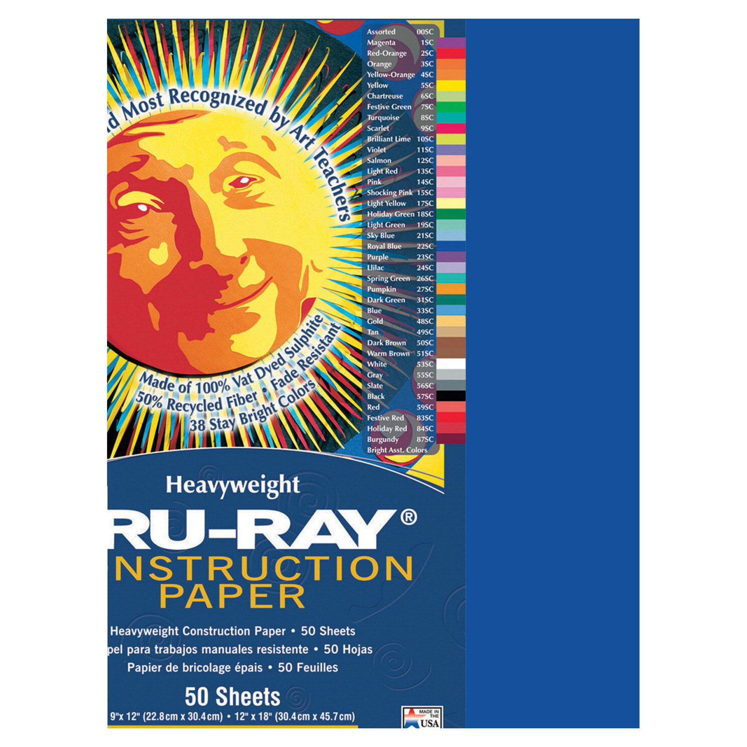 Tru-Ray Sulphite Construction Paper, 12 x 18 Inches, Royal Blue, 50 Sheets