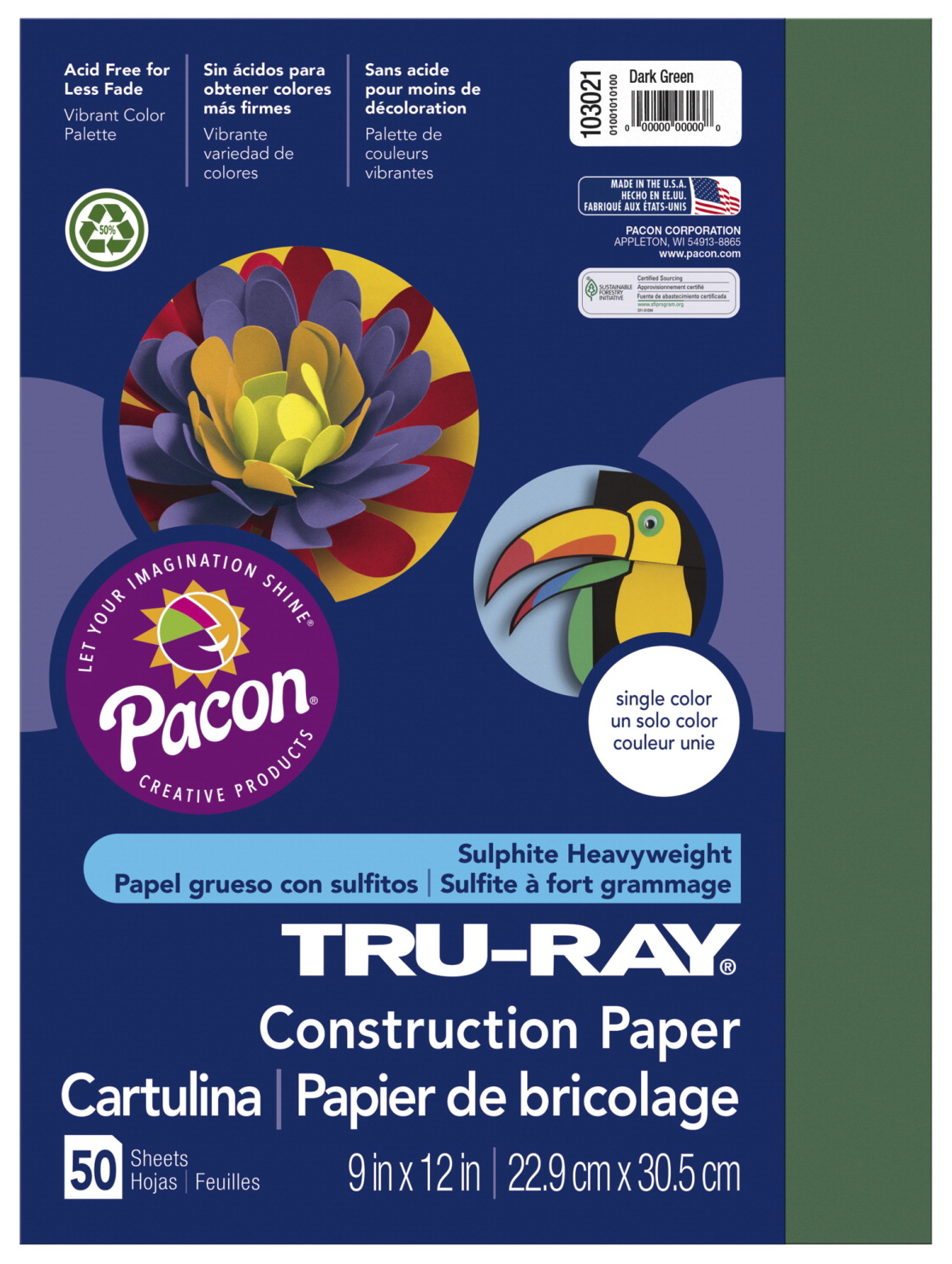 Tru-Ray Sulphite Construction Paper, 12 x 18 Inches, Dark Green, 50 Sheets