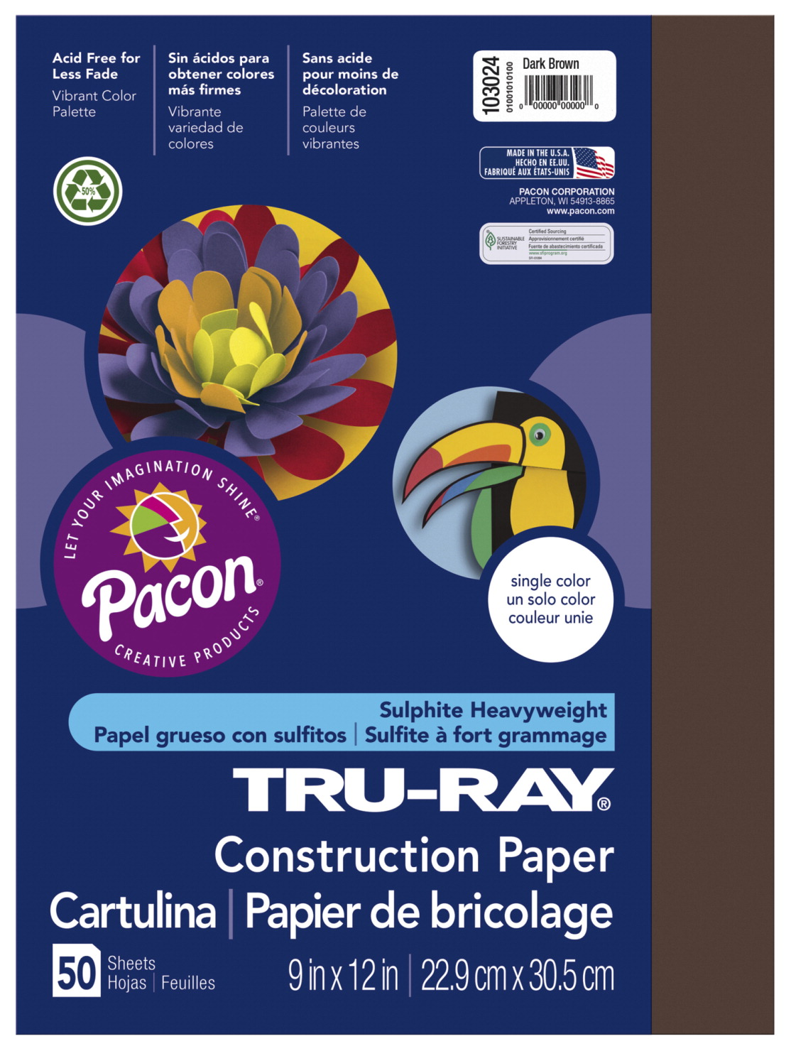 Tru-Ray Sulphite Construction Paper, 9 x 12 Inches, Dark Brown, 50 Sheets