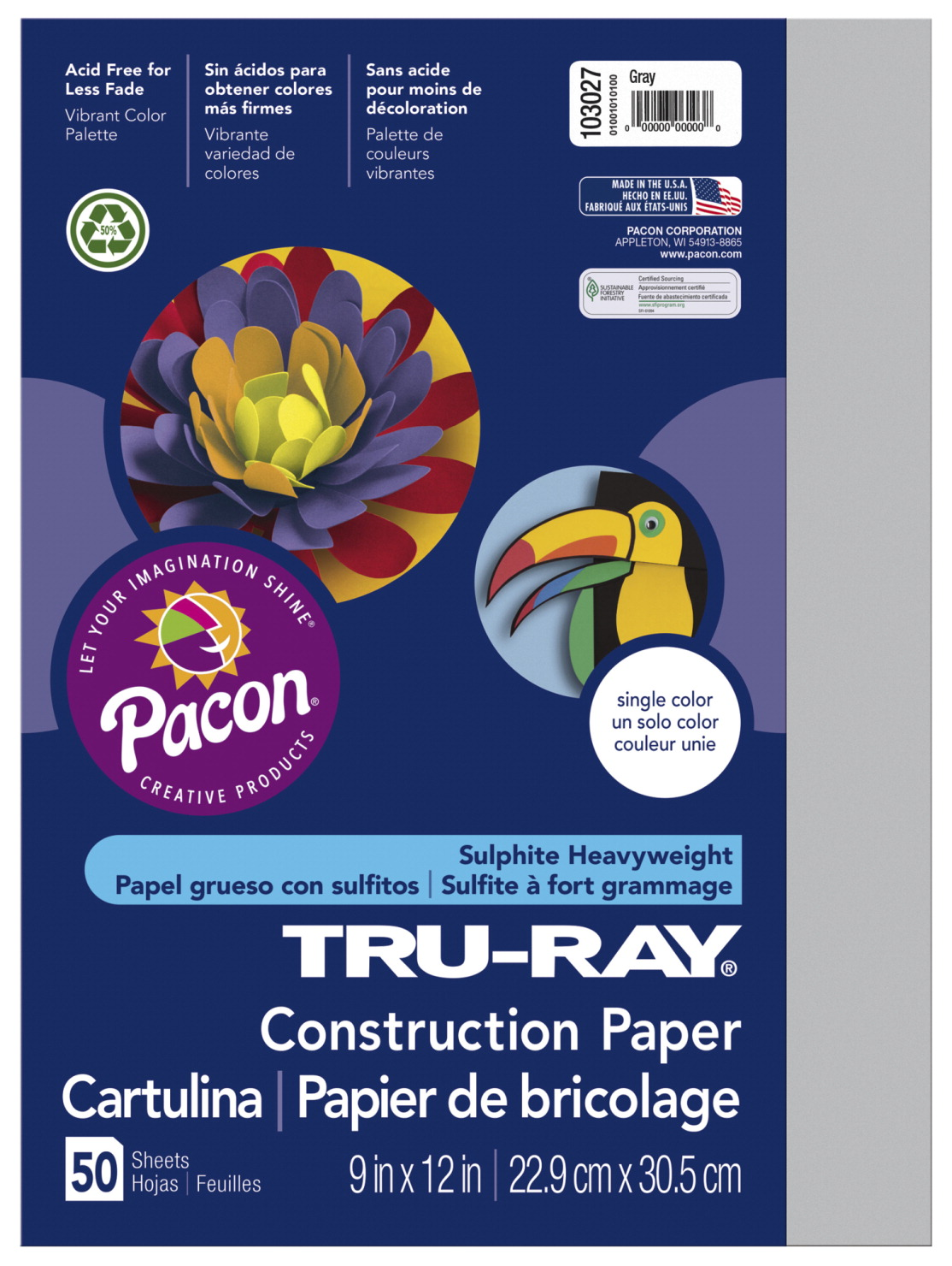 Tru-Ray Sulphite Construction Paper, 12 x 18 Inches, Gray, 50 Sheets