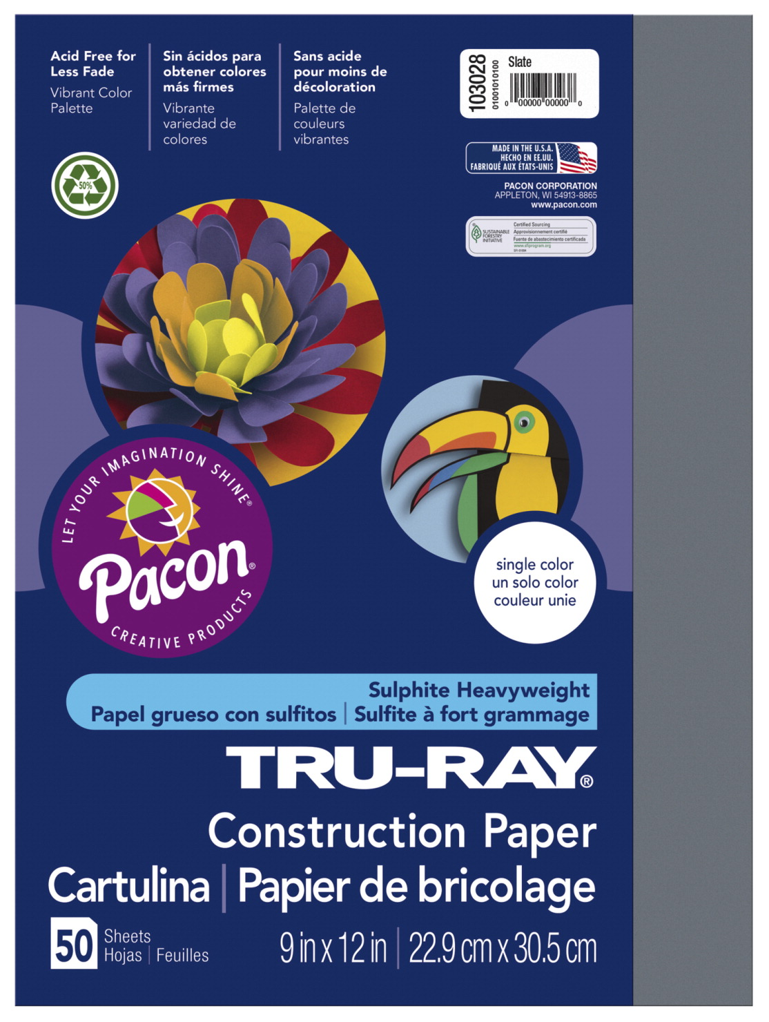 Tru-Ray Sulphite Construction Paper, 12 x 18 Inches, Slate, 50 Sheets