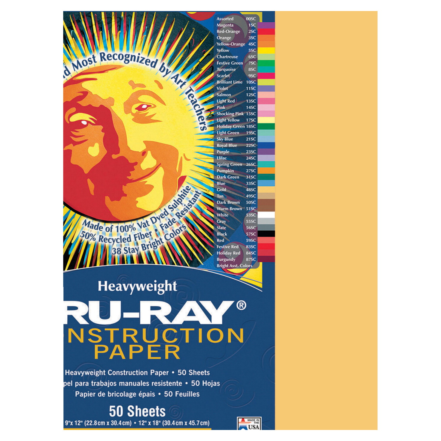 Tru-Ray Sulphite Construction Paper, 12 x 18 Inches, Gold, 50 Sheets