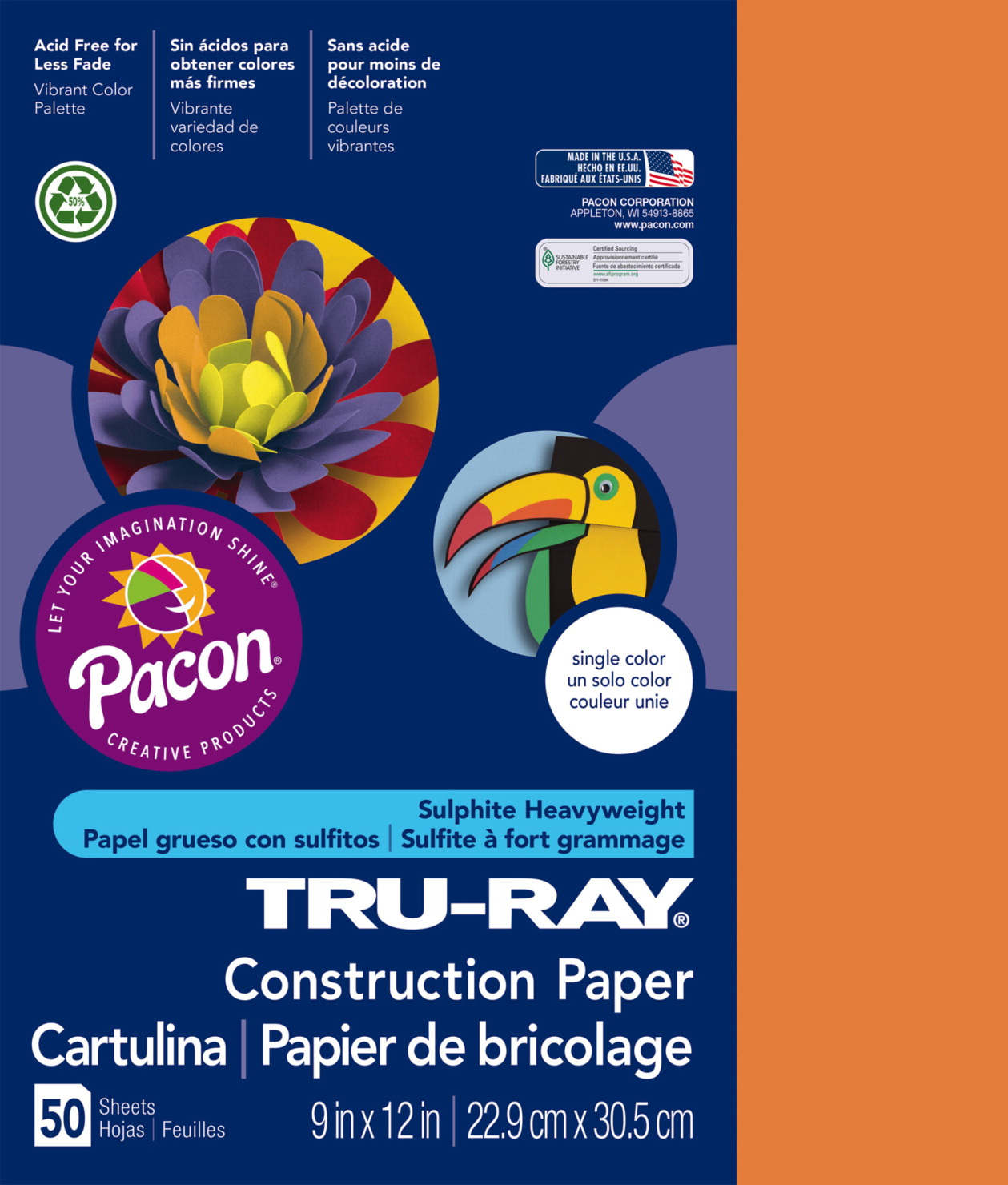 Tru-Ray Sulphite Construction Paper, 9 x 12 Inches, Pumpkin, 50 Sheets