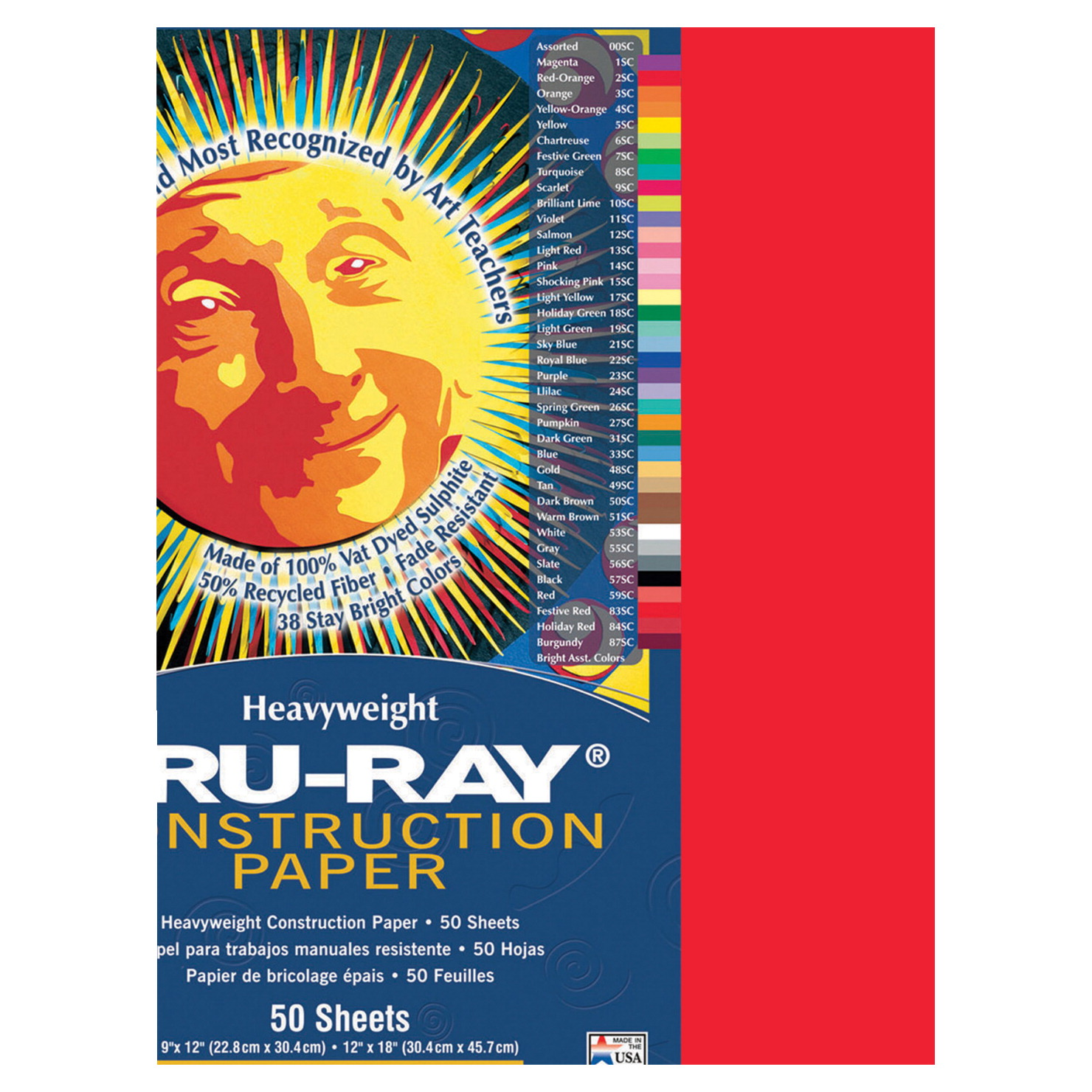 Tru-Ray Sulphite Construction Paper, 18 x 24 Inches, Festive Red, 50 Sheets