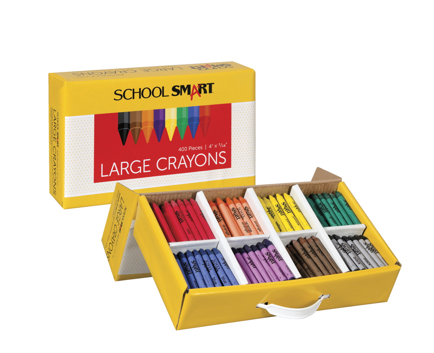 School Smart Large Crayons in Storage Box, Assorted Colors, Pack of 400