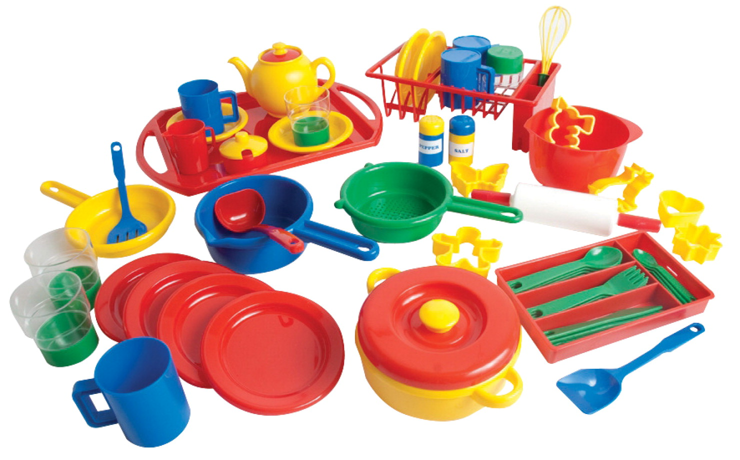 School Smart Play Kitchen Dishes Pack, 4 Settings, Assorted Colors, 55 Pieces