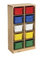 Childcraft Mobile Deep Cubby With 10 Multi-Colored Trays, 9-3/4 x 14-1/4 x 36 Inches