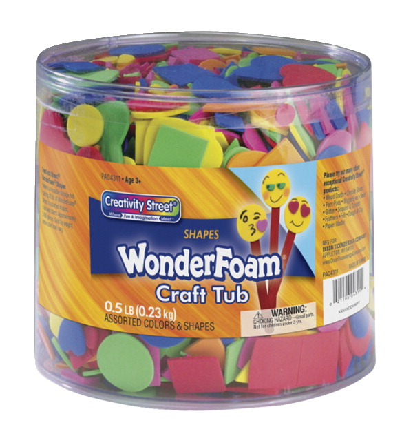 Wonderfoam Assorted Shape Decorative Foam Shape, Assorted Size, Assorted Color, 0.5 lb Tub, Pack of 3000
