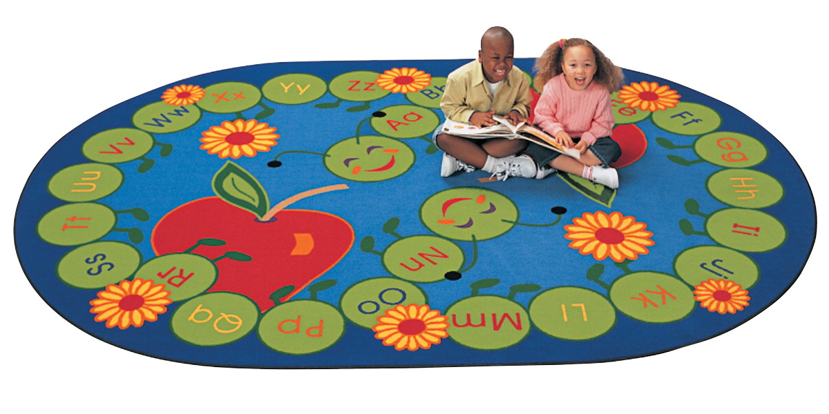 Carpets For Kids ABC Caterpillar Rug, 6 Feet 9 Inches x 9 Feet 5 Inches, Oval