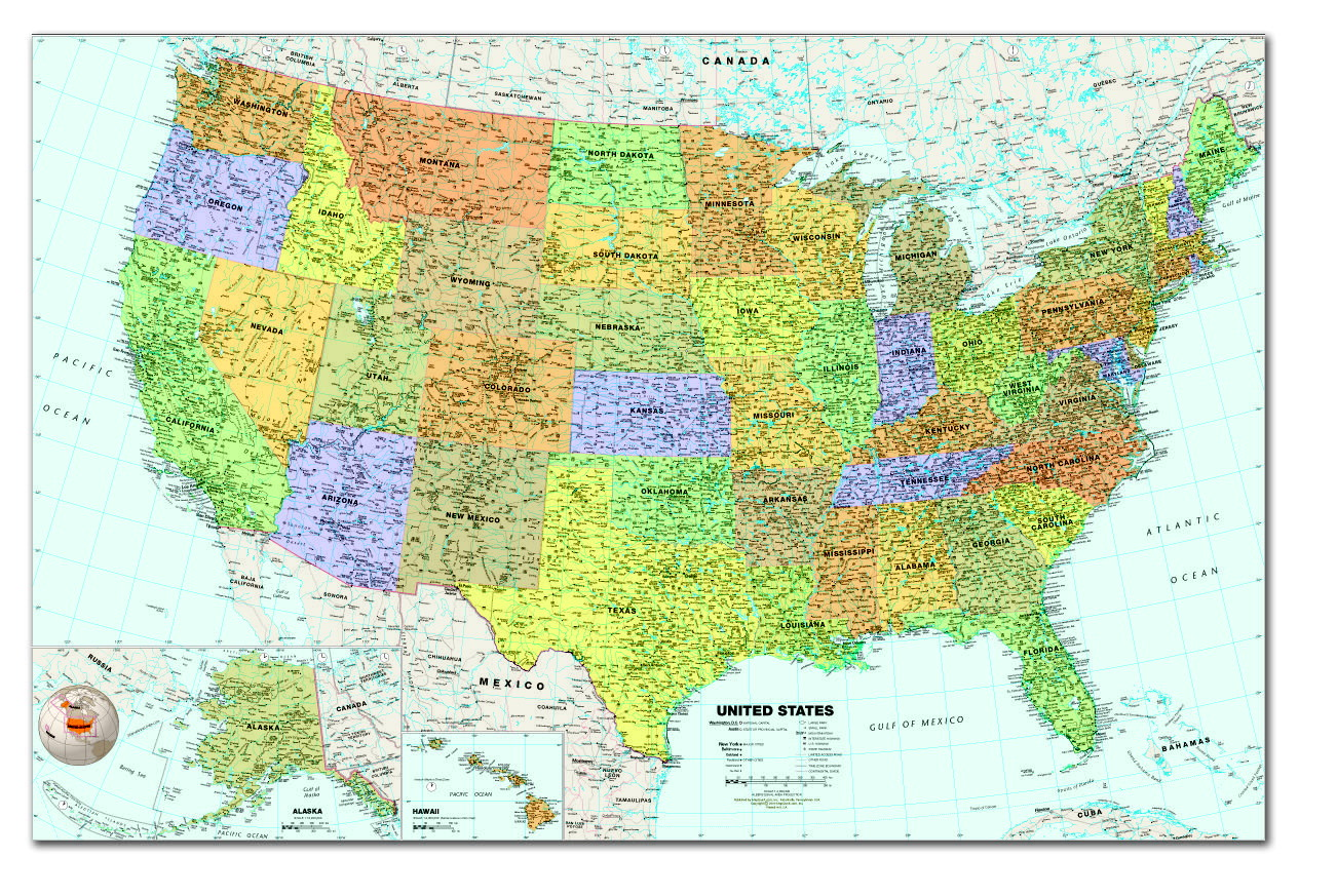 House Of Doolittle Laminated Write And Wipe United States Map With - Large laminated us map