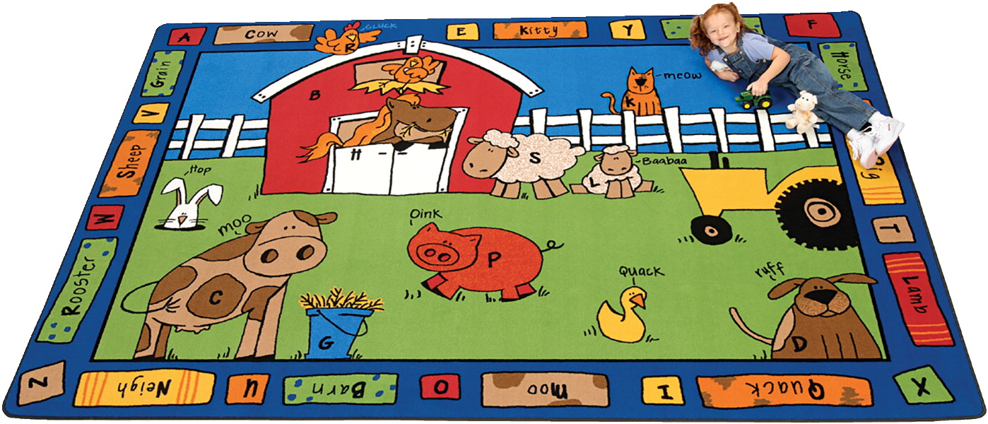 Carpets For Kids Alphabet Farm Rug, 5 Feet 10 Inches x 8 Feet 4 Inches, Rectangle