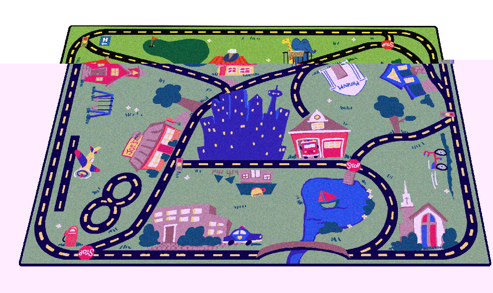 Carpets For Kids Cruisin Around The Town Rug, 3 ft 10 in X 5 ft 5 in, Rectangle