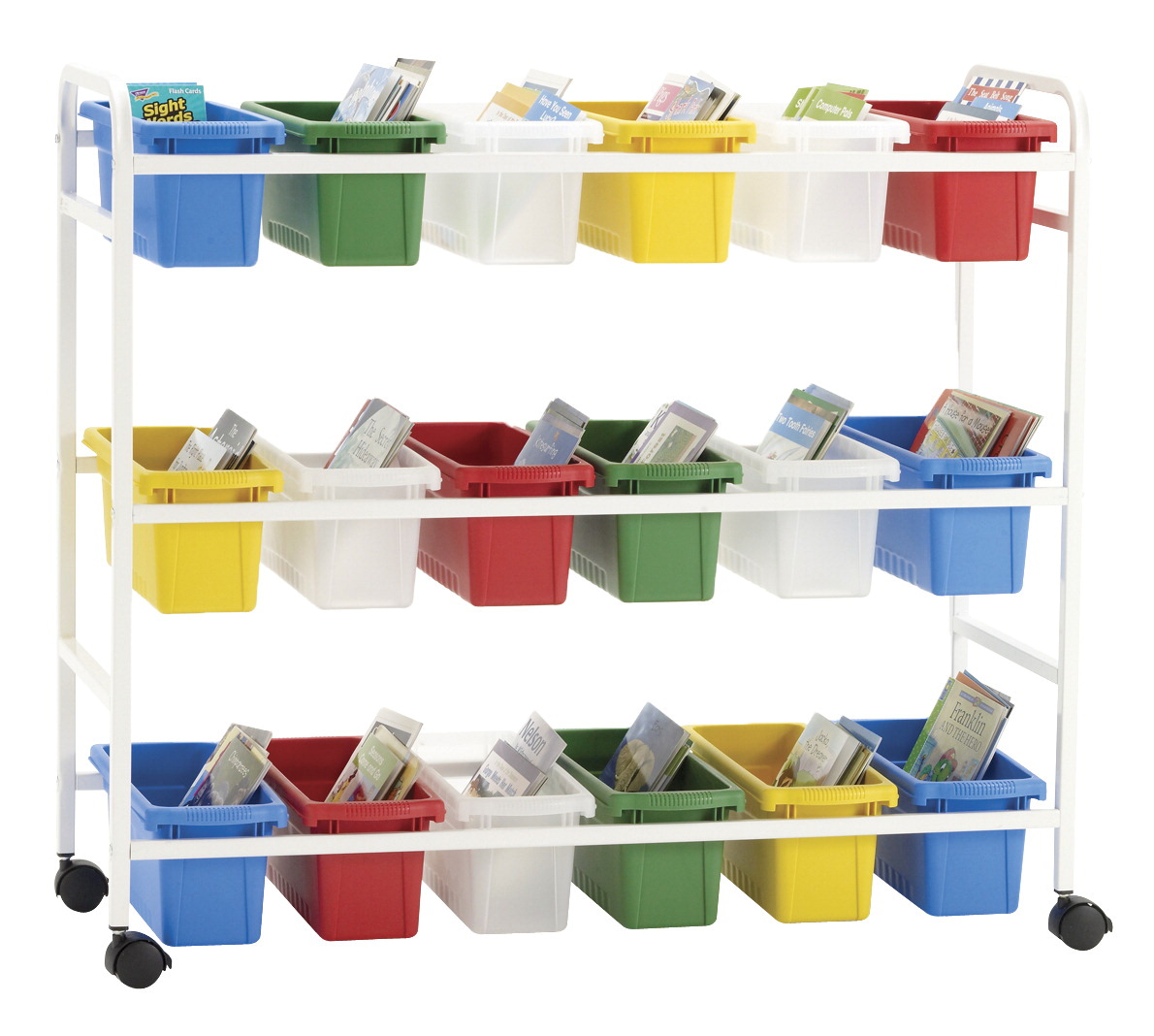 Copernicus Leveled Reading Book Browser Cart, 18 Small Tubs, 41 x 17 x 36 Inches
