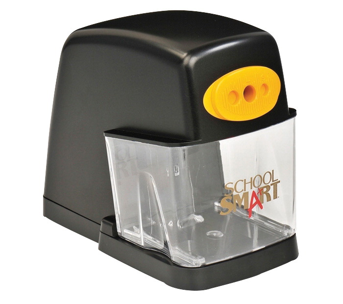 School Smart Adjustable Electric Non-Skid Steel Pencil Sharpener, 7.25 in L X 5.5 in H X 3.25 in W, Black